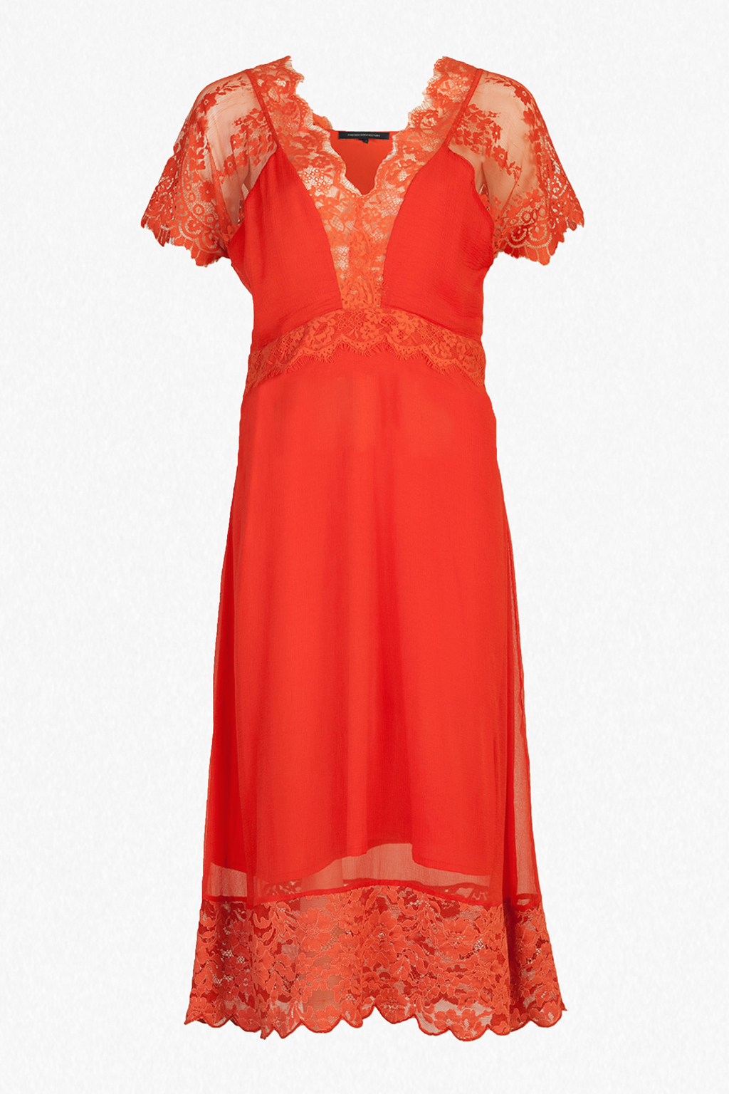 French connection siena lace midi tea dress in red lyst for Red midi dress wedding guest