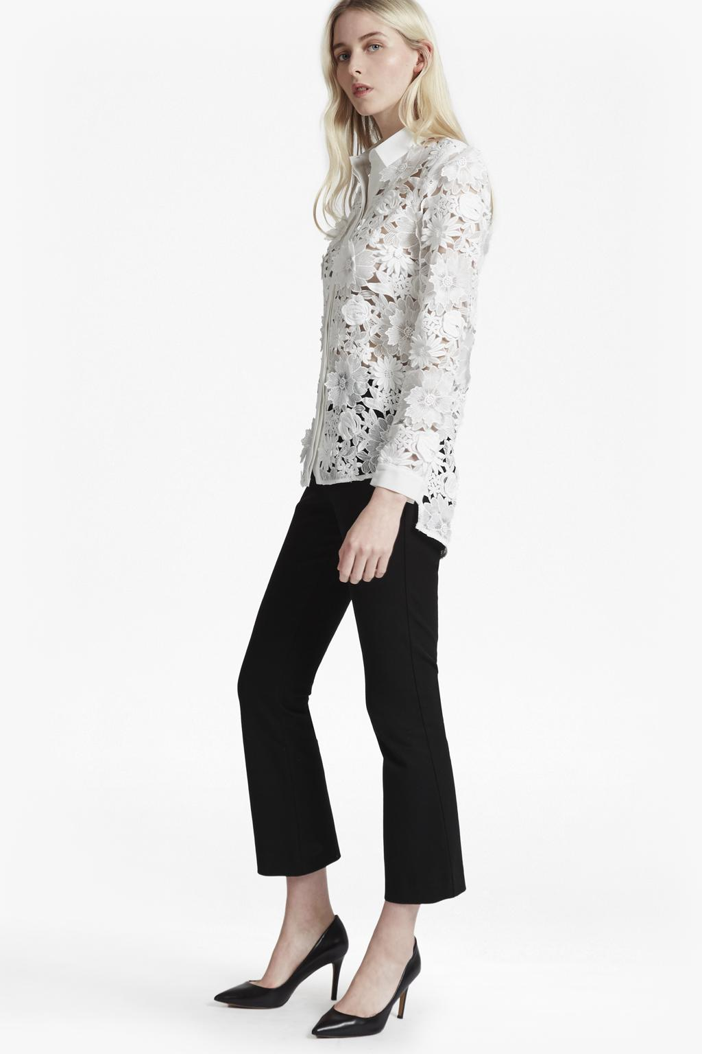 8d76d323eb1e4 French Connection Manzoni 3d Floral Lace Shirt in White - Lyst