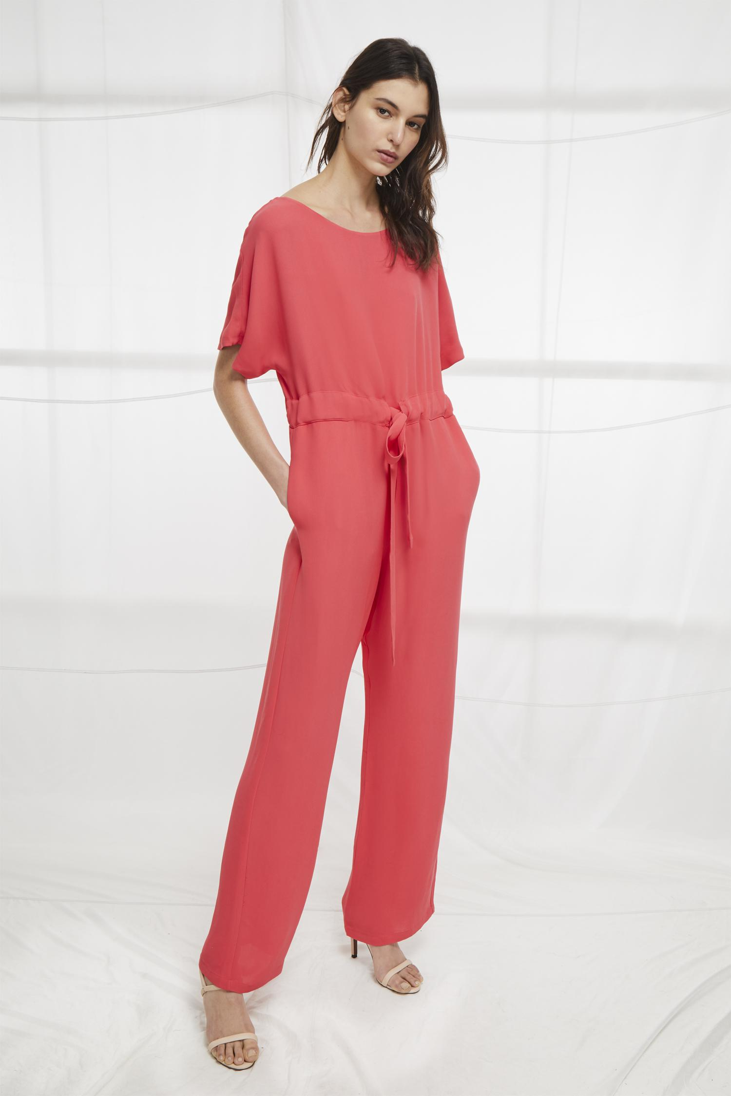 1538622c888 Lyst - French Connection Patras Crepe Long Jumpsuit in Red