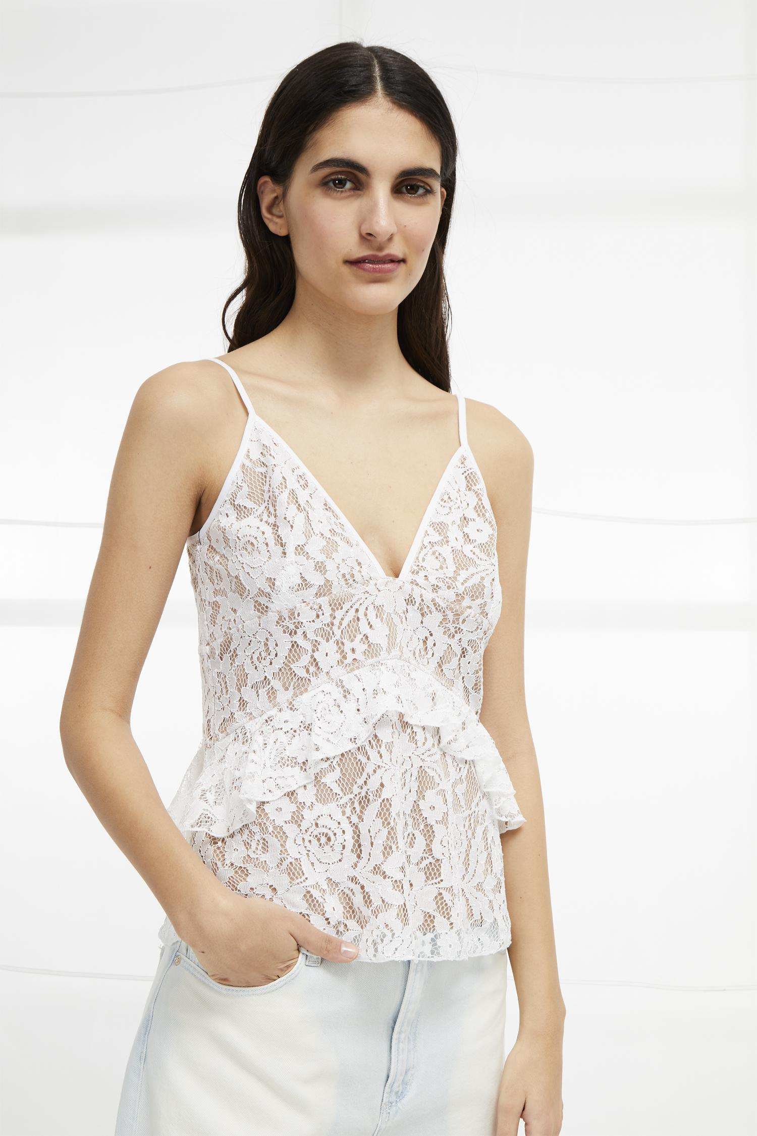 f7d2e43c9fa French Connection Delos Lucky Layer Lace Strappy Top in White - Lyst