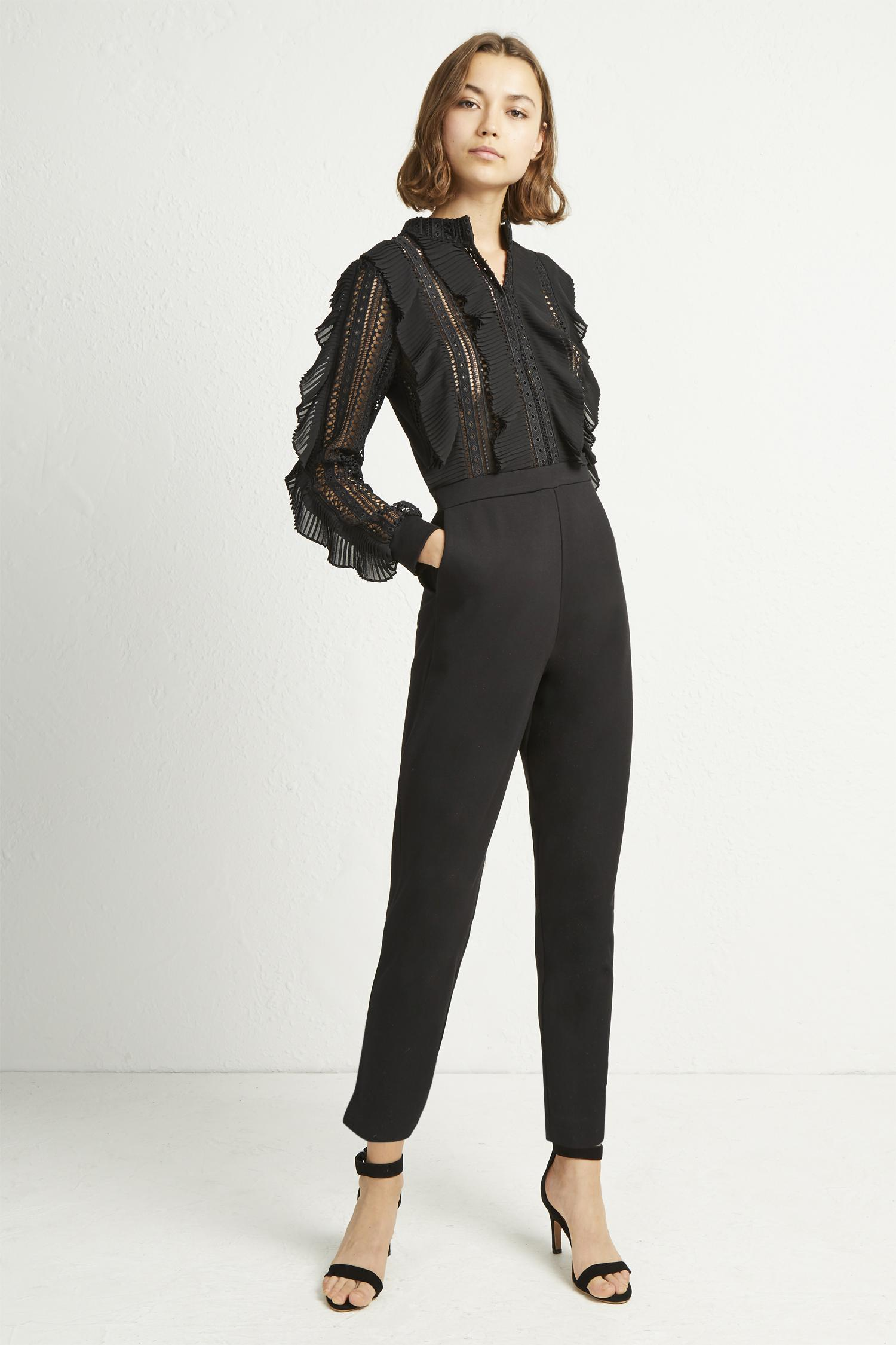 5a4a9909489 French Connection Patricia Lace Jersey Jumpsuit in Black - Lyst