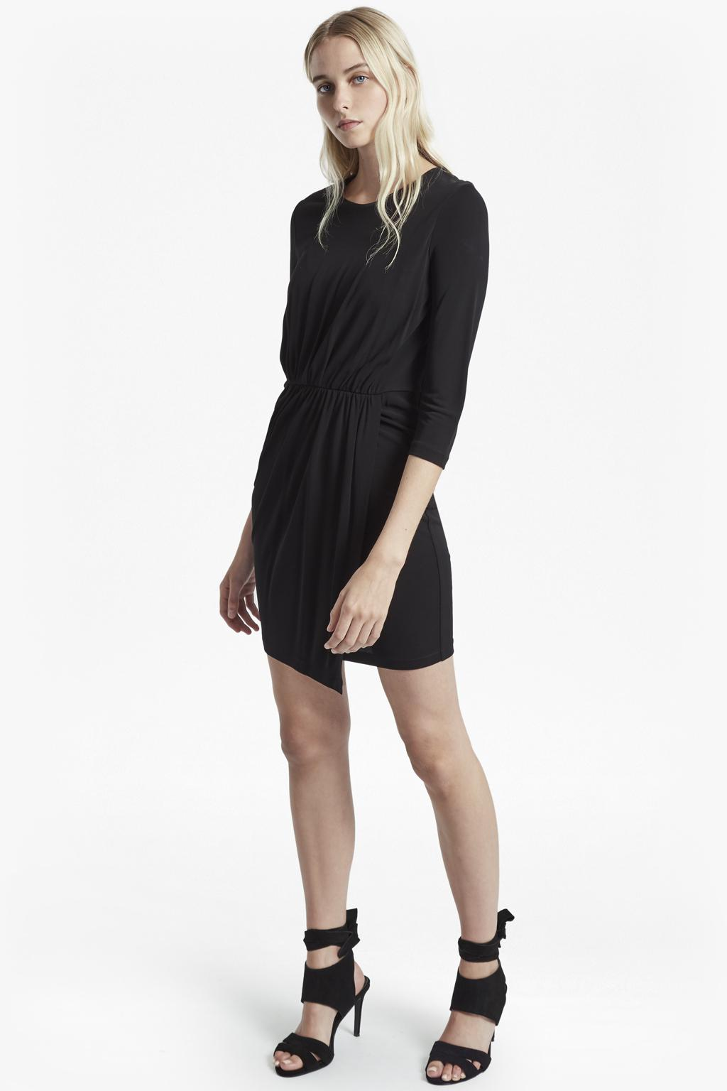 ef188246669124 Lyst - French Connection Elsa Long Sleeved Draped Jersey Dress in Black