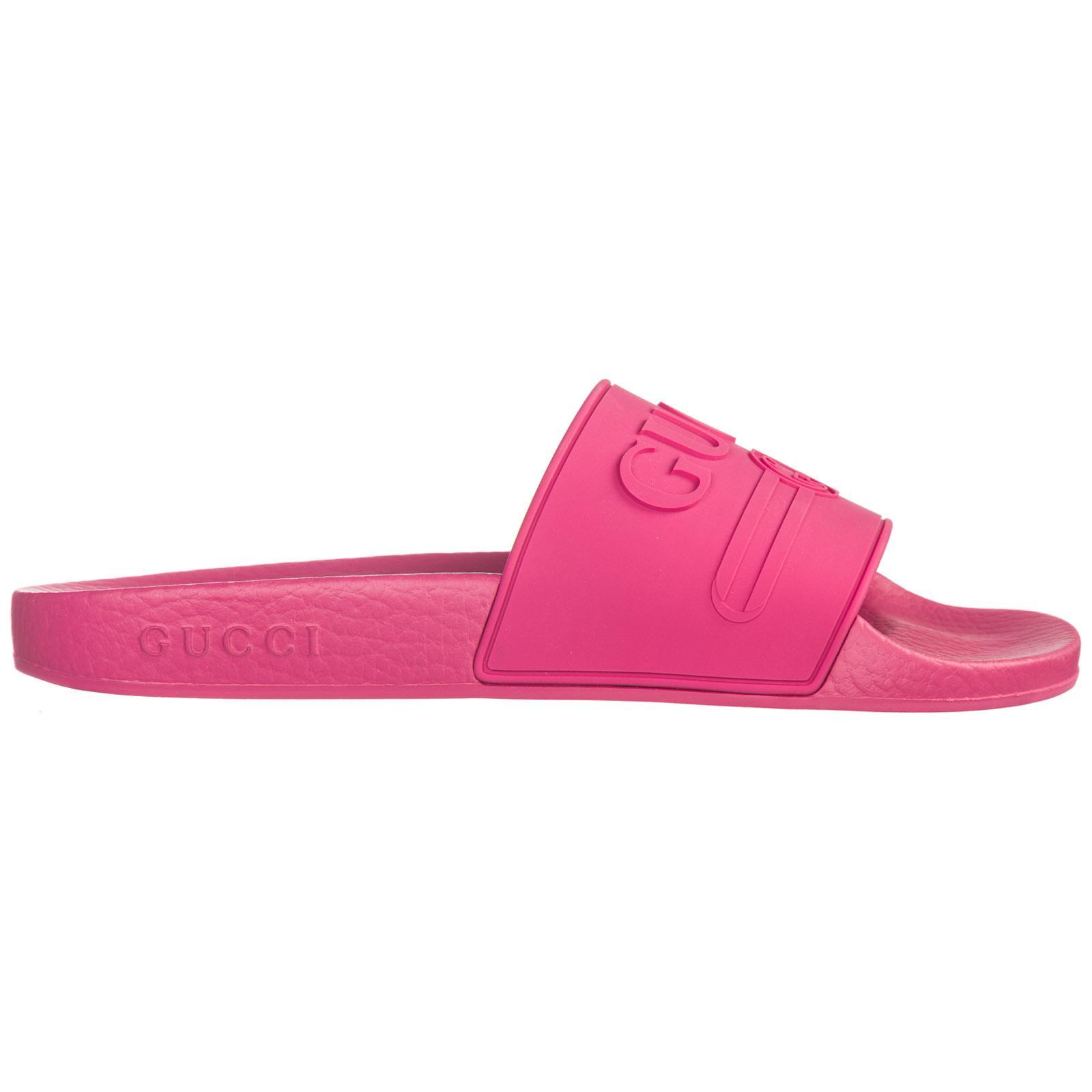 16e69701044 Gucci - Pink Logo Rubber Slide Sandals - Lyst. View fullscreen
