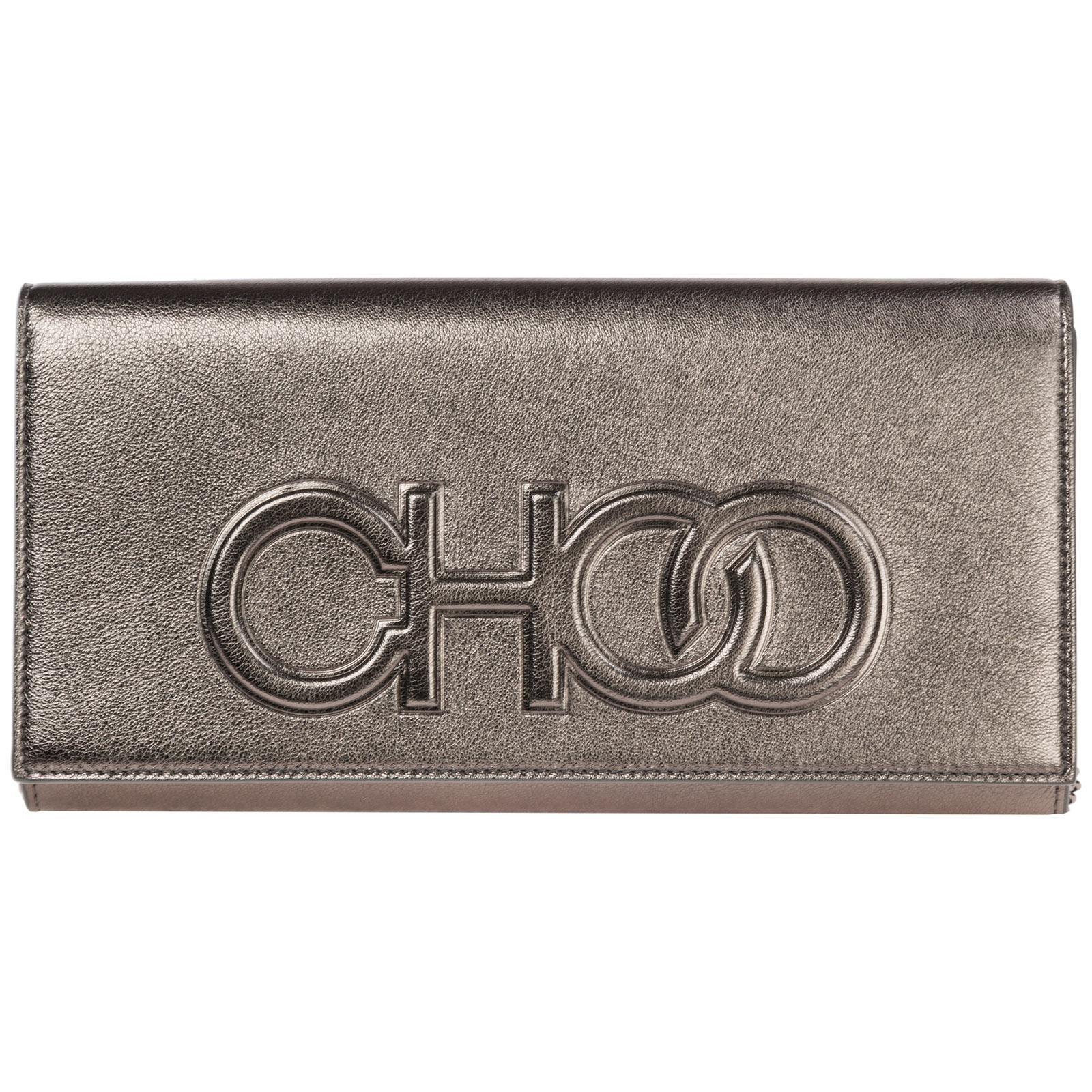 42711d200a Jimmy Choo Leather Clutch With Shoulder Strap Handbag Bag Purse ...