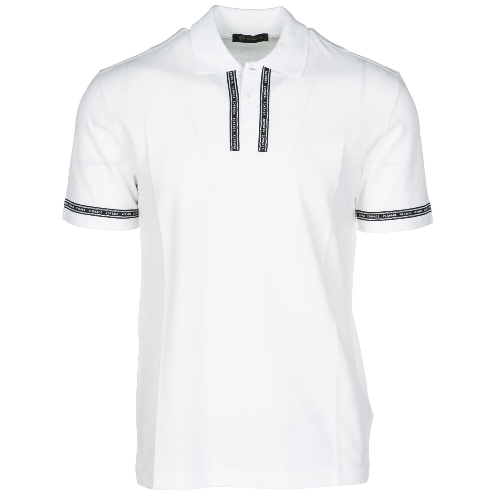 7ed3aa32 Versace Short Sleeve T-shirt Polo Collar in White for Men - Lyst