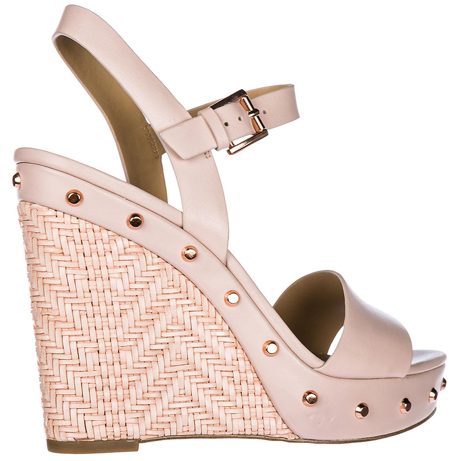 c9ff9d18486f Lyst - Michael Kors Leather Shoes Wedges Sandals Ellen in Pink