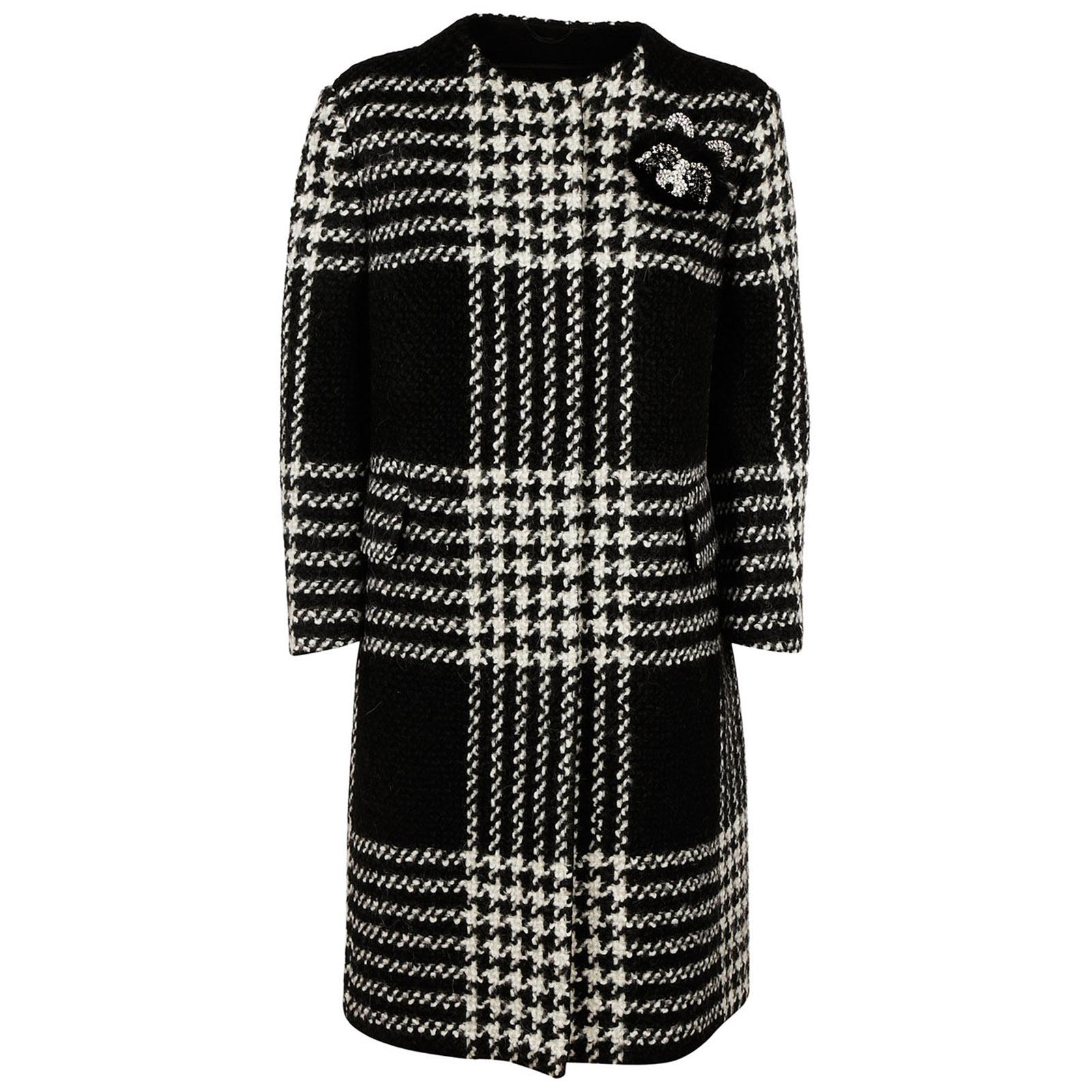 Lyst - Ermanno Scervino Wool Coat Pied De Poule in Black f311d406d33