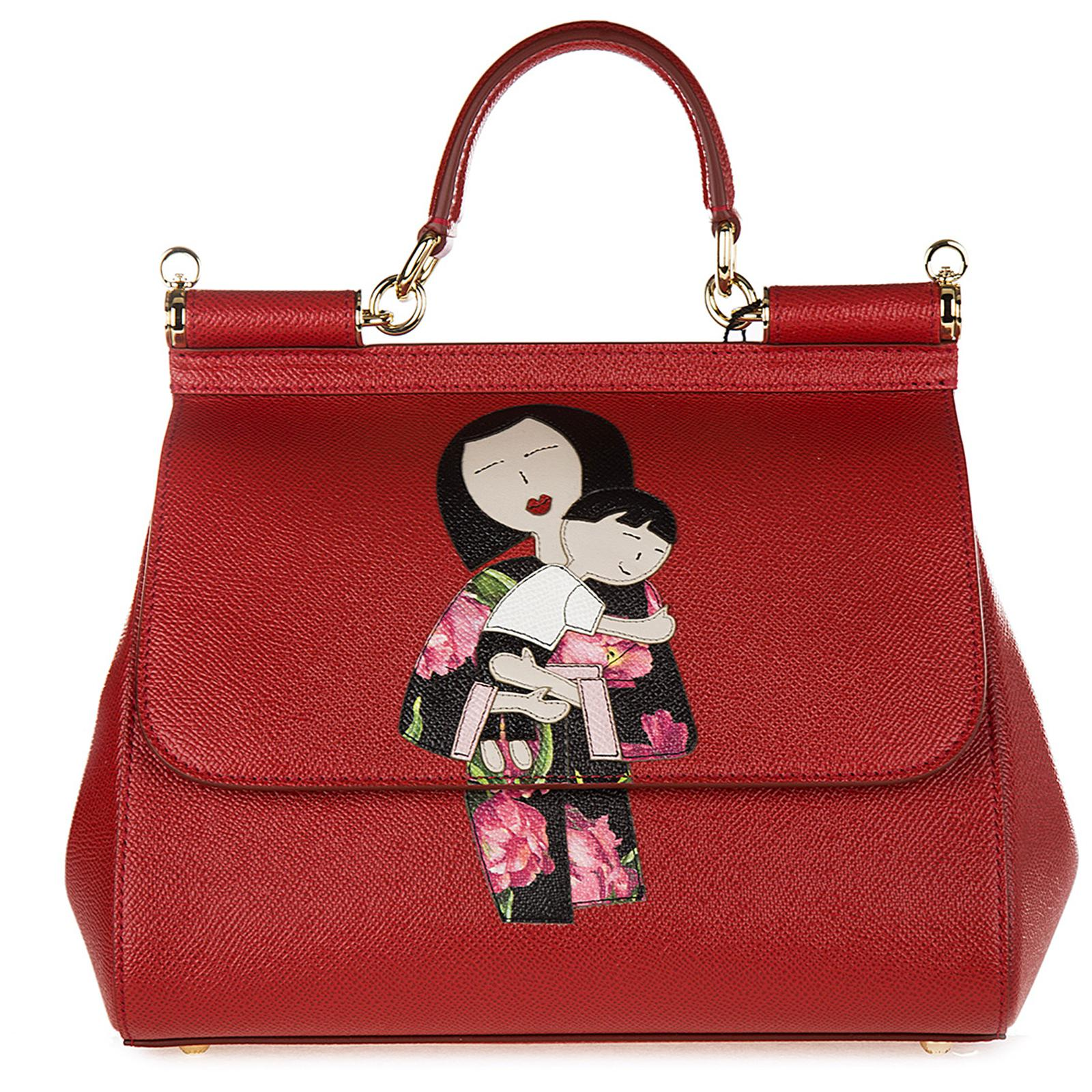 Dolce   Gabbana Leather Handbag Shopping Bag Purse Sicily Dauphine ... ae5df7a2dae3d