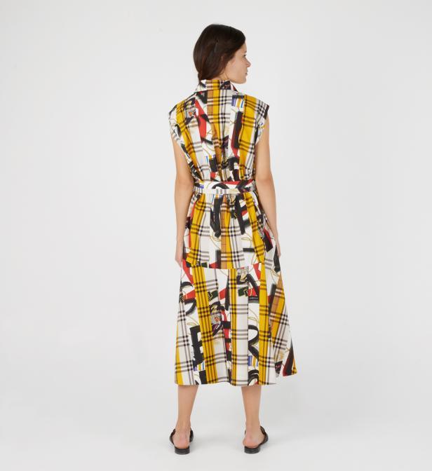 9713d16884fec Burberry - Multicolor Robe chemise femme à motif check avec imprimé  écharpes d archive -. Afficher en plein écran