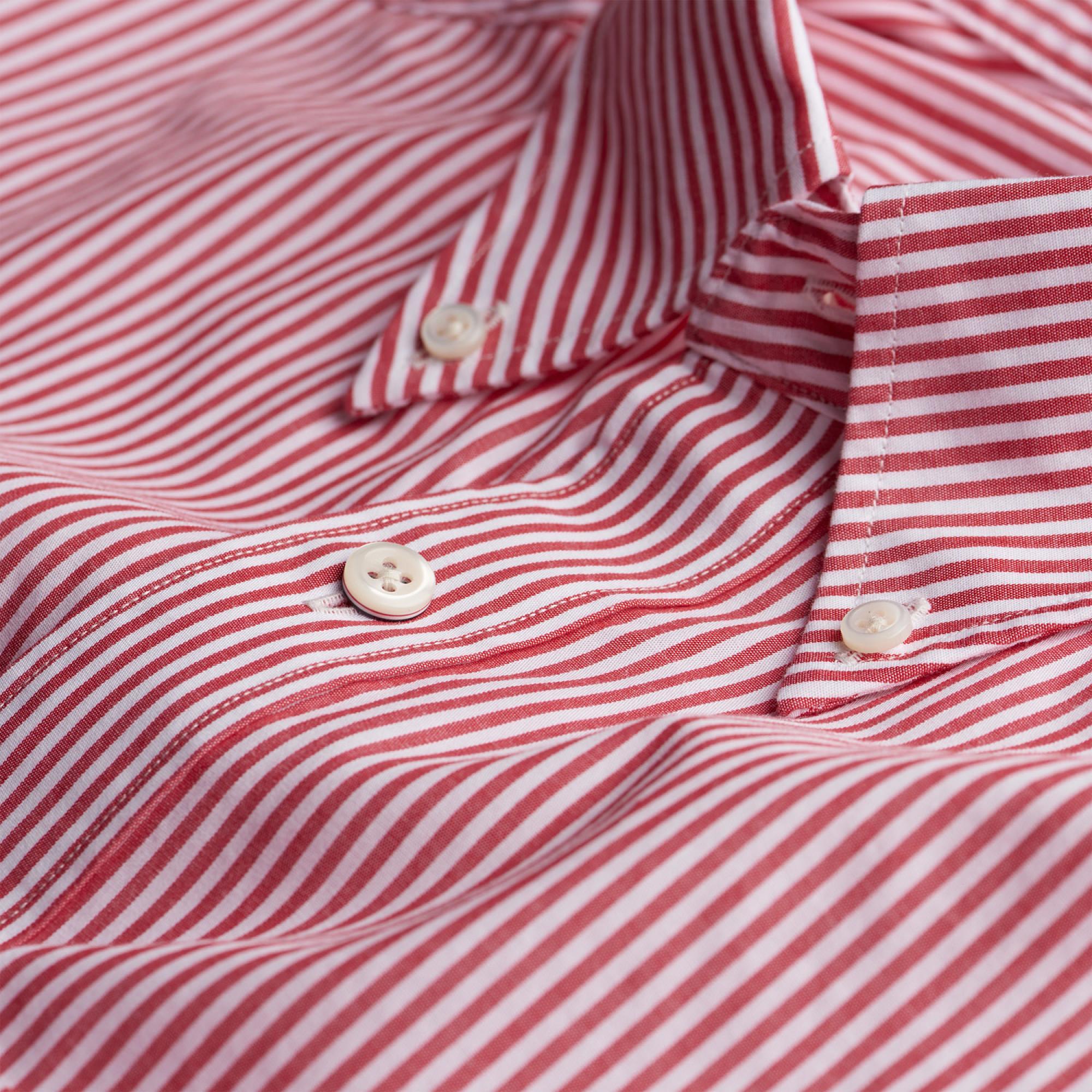 487658c216 Gant - Red Banker Striped Fitted Shirt for Men - Lyst. View fullscreen