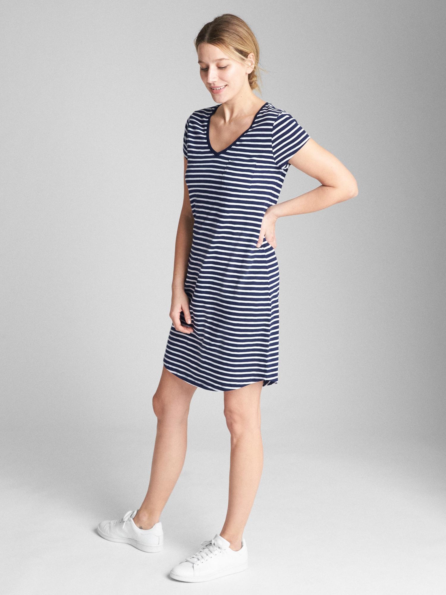 dfafaa62bb88b Gap Short Sleeve Pocket T-shirt Dress in Blue - Lyst