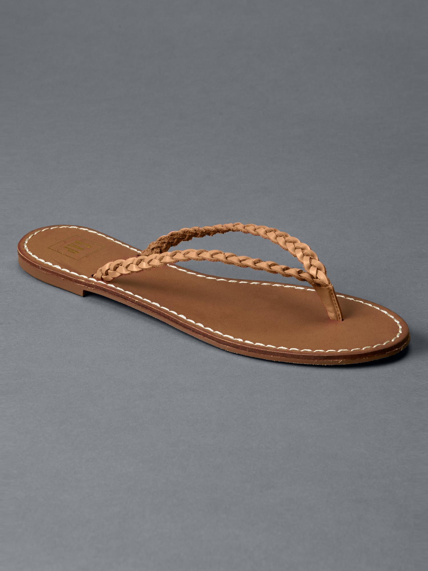 Lyst - Gap Braid Leather Flip Flops In Brown-9436