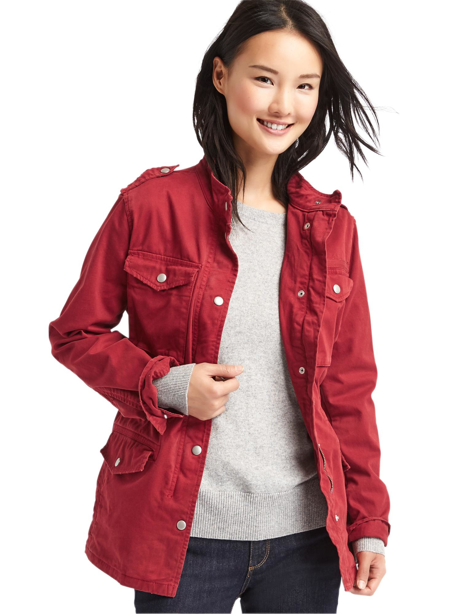 Gap Classic Utility Jacket in Red (CINNABAR RED)