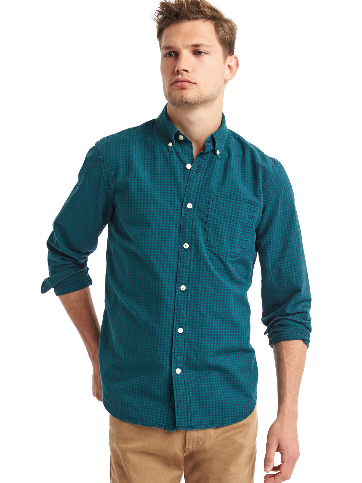 Gap oxford gingham long sleeve tailored shirt in green for for Mens green gingham dress shirt