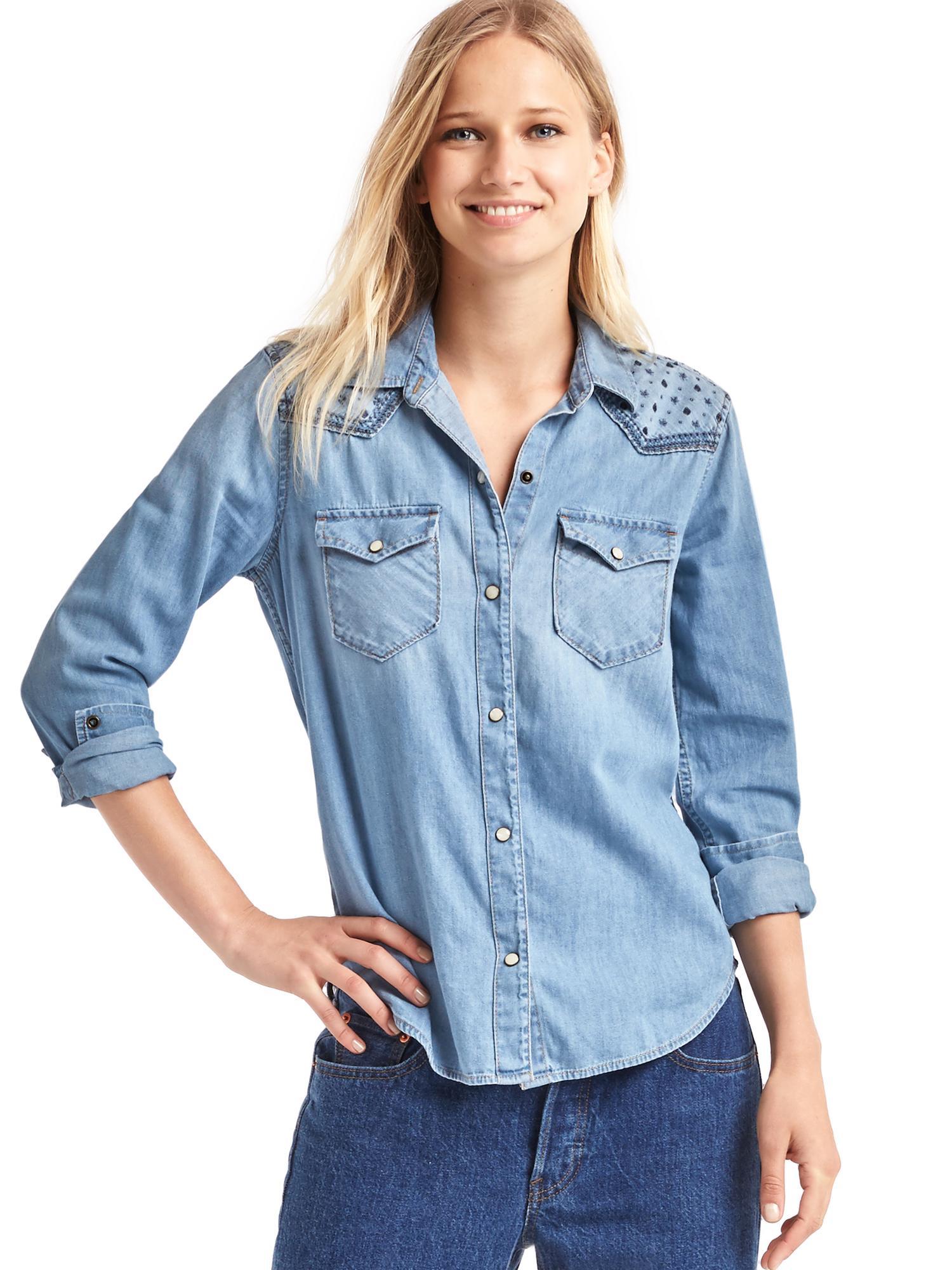 Gap 1969 Denim Embroidered Western Shirt In Blue Medium