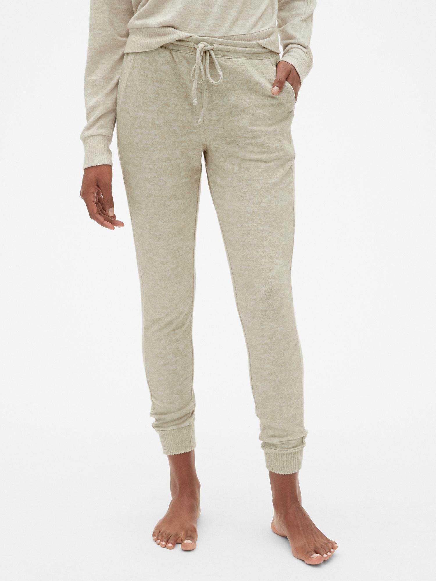 NEW Womens GAP LOGO Sweat Pants Lounge Fleece Sweatpants Pink Cropped Joggers