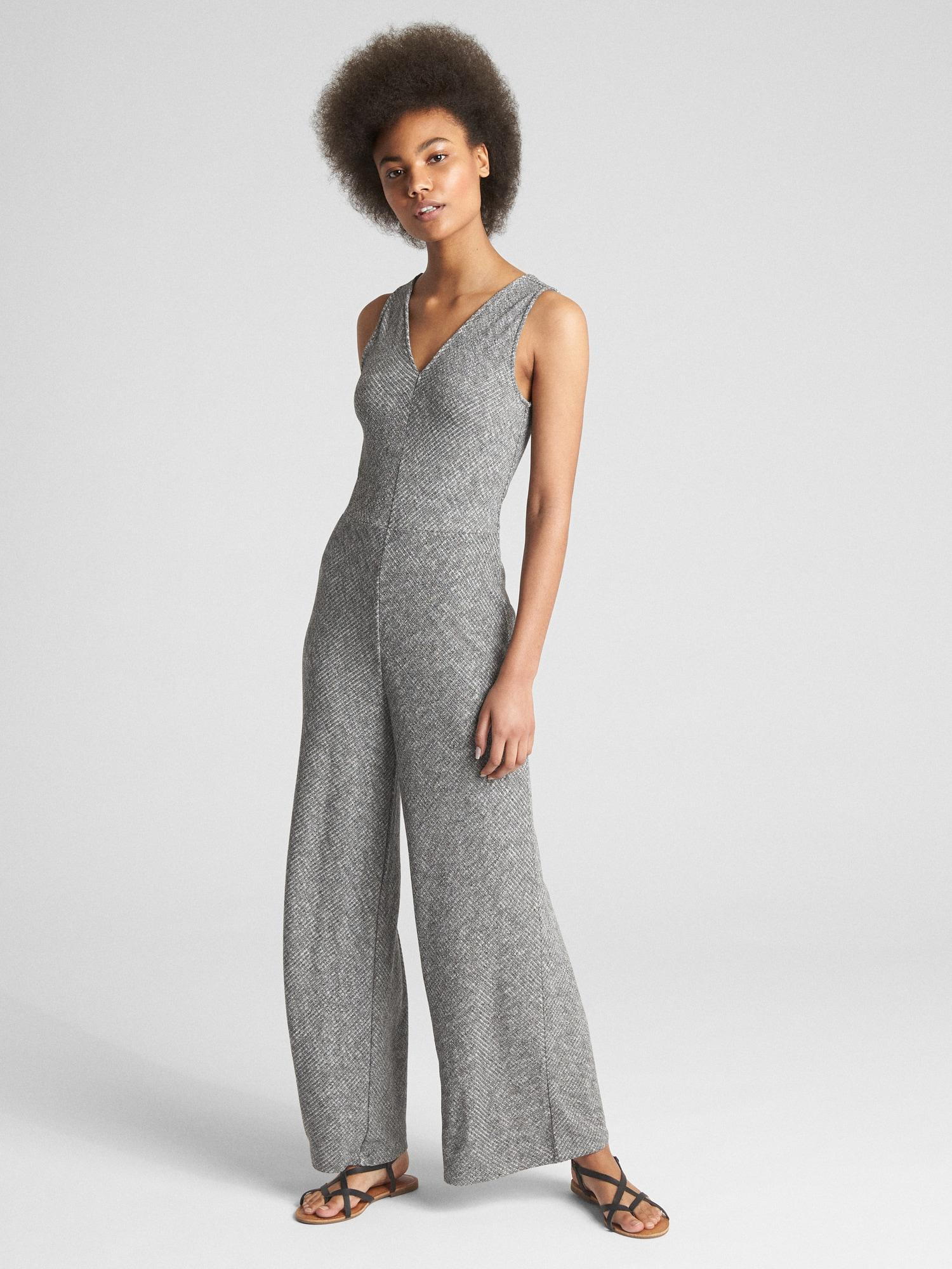 35cdd71750a Lyst - Gap Softspun Sleeveless V-neck Jumpsuit in Gray