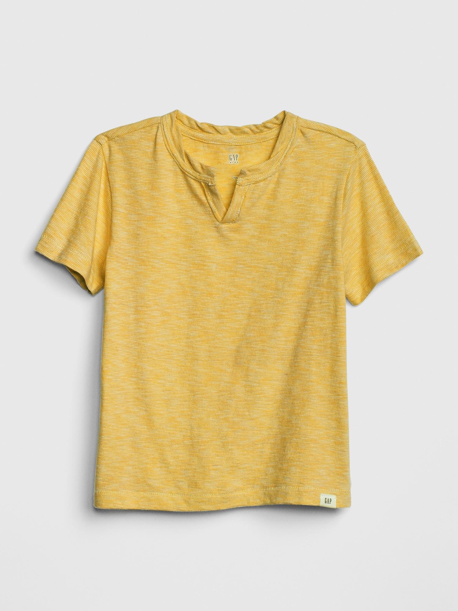 4d0db74da3 Gap - Yellow Pinstripe Notch T-shirt for Men - Lyst. View fullscreen