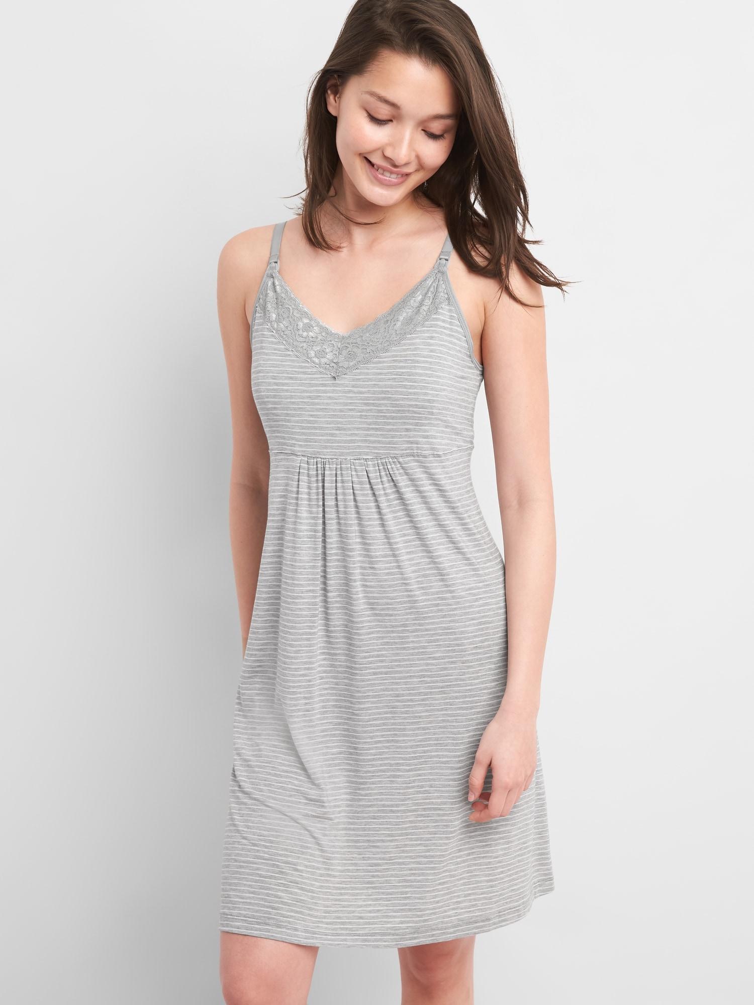 282472b6e7344 Lyst - Gap Maternity Nursing Nightgown in Gray