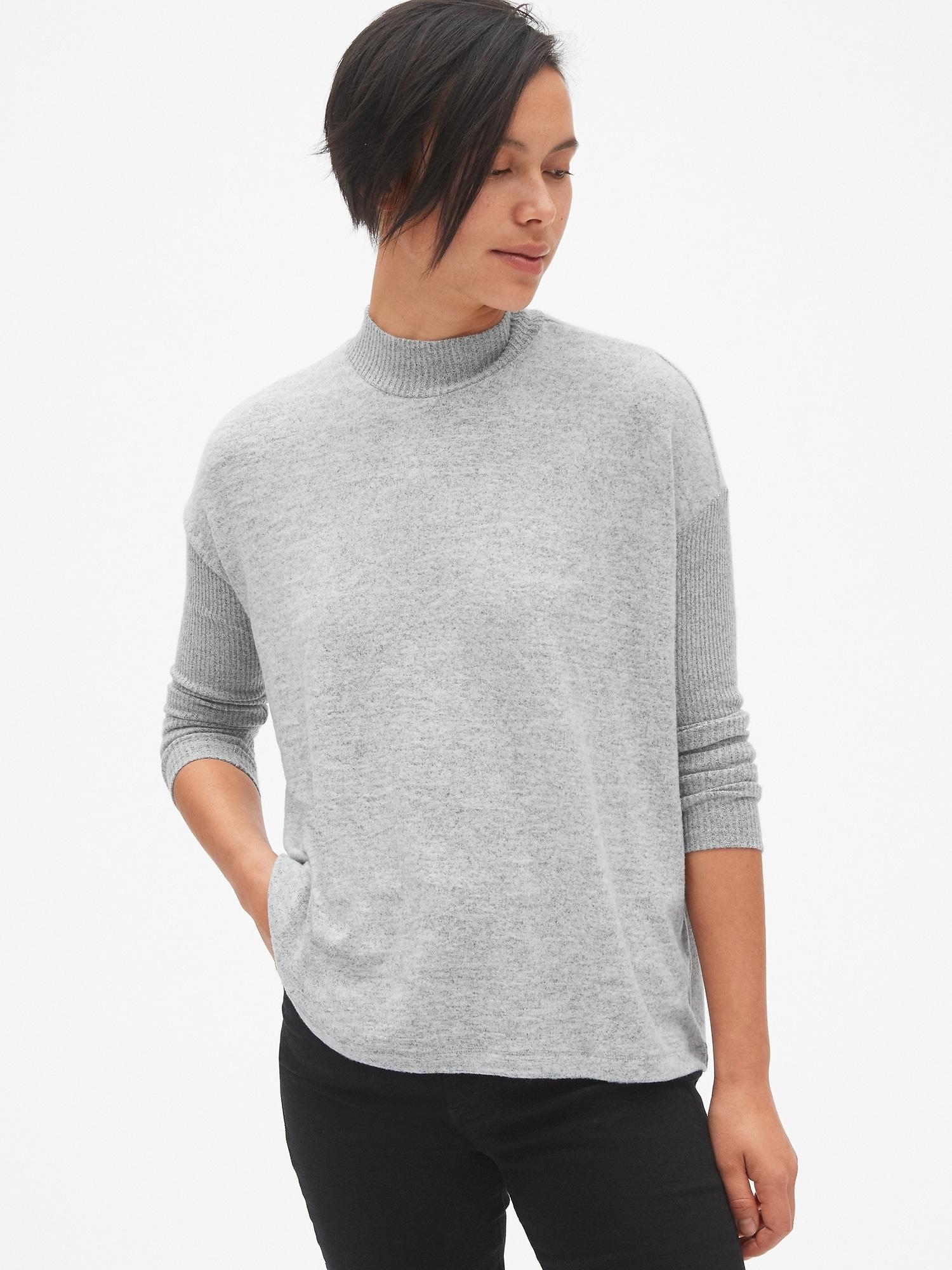 dcf23d79ad8ca Lyst - Gap Softspun Brushed Long Sleeve Mockneck Top in Gray