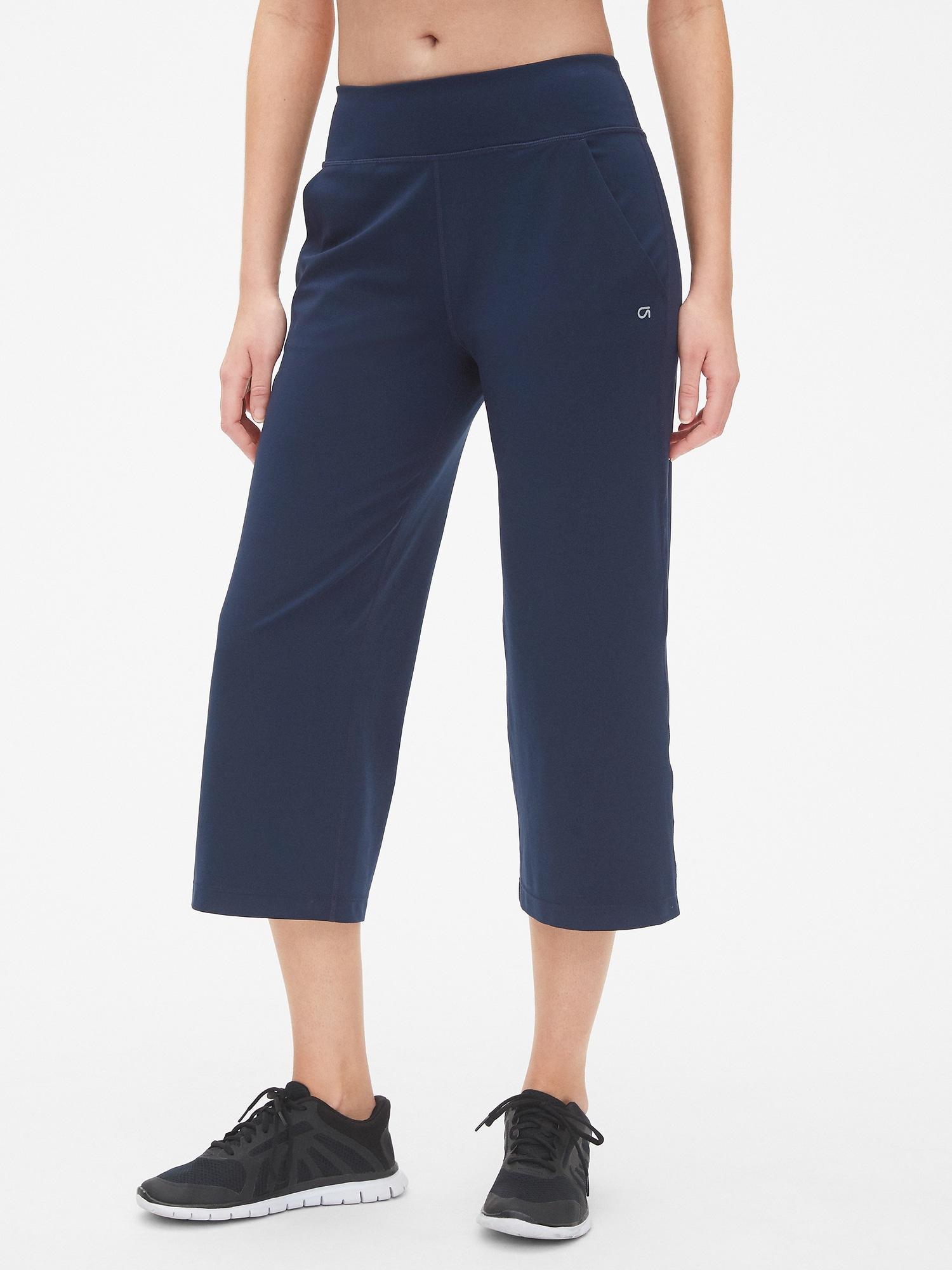 03af06d996 Lyst - Gap Fit Studio Wide-leg Crop Pants In Eclipse in Blue