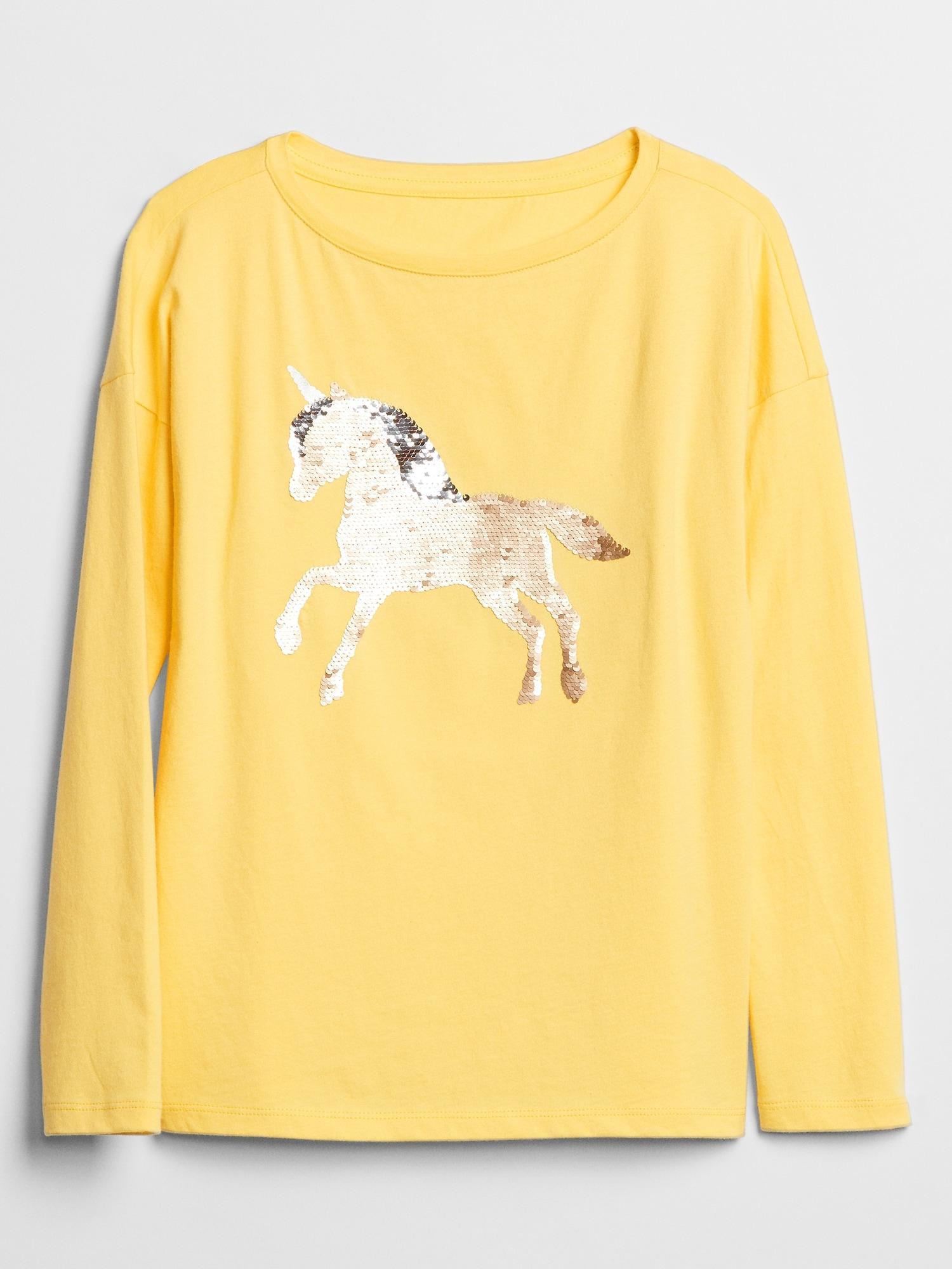 a02c2e543 GAP Factory. Women s Kids Flippy Sequin Long Sleeve Graphic T-shirt