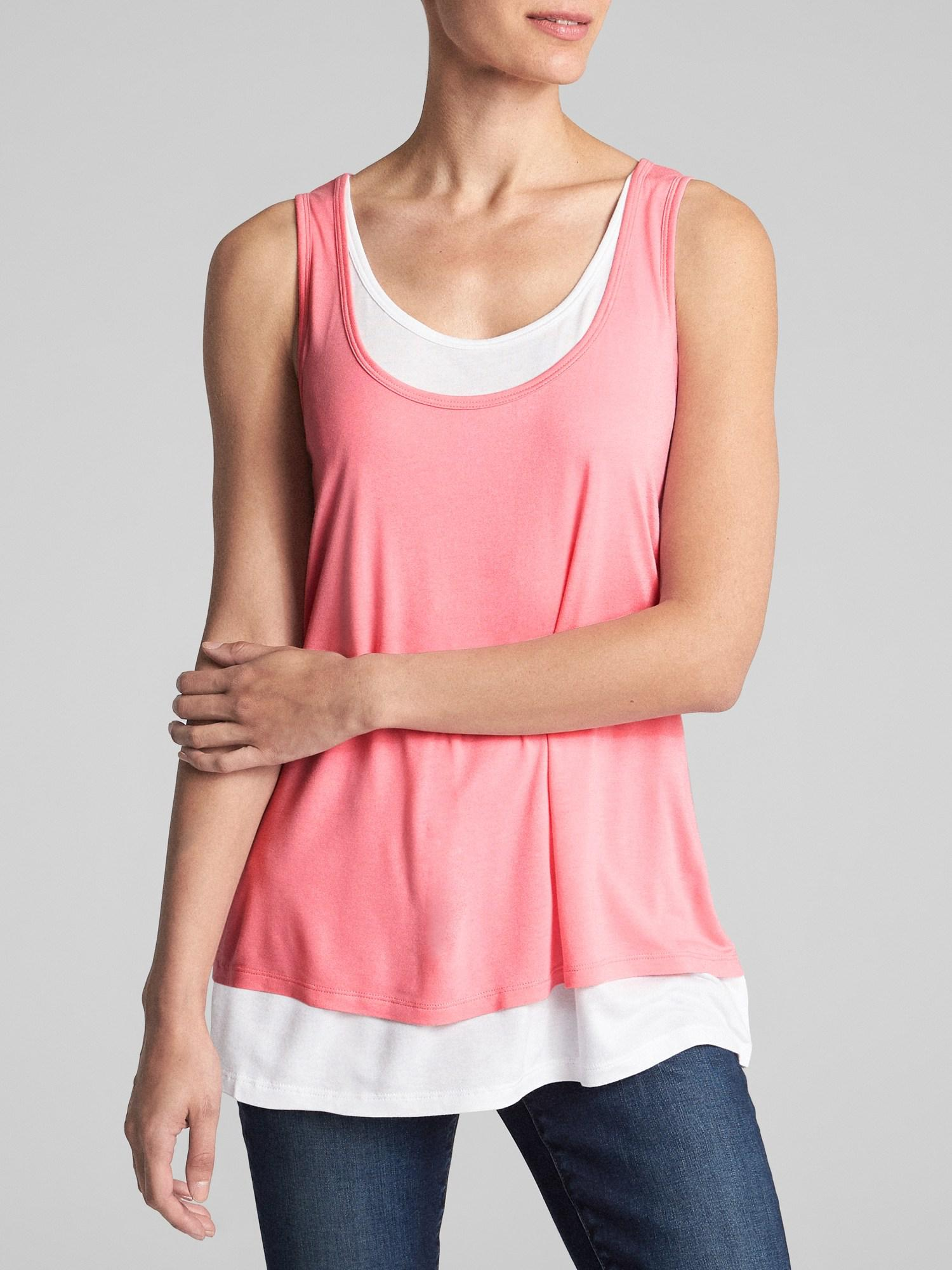 ab79e7b5c14435 Lyst - GAP Factory Maternity Double-layer Nursing Tank Top in Pink