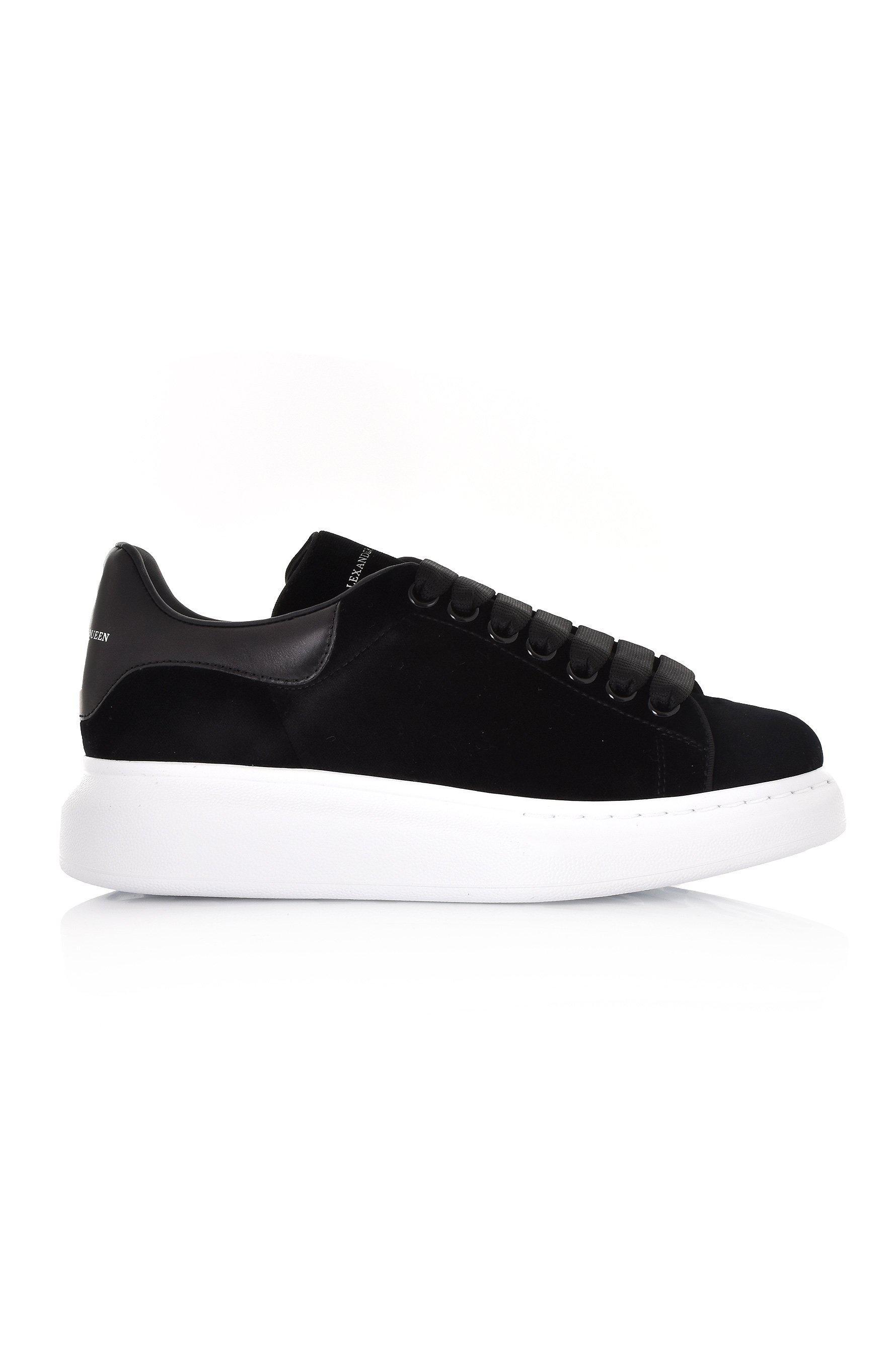 Alexander McQueen. Women s Oversized Black Velvet Black Leather Flash  Trainers 6b2c10c577