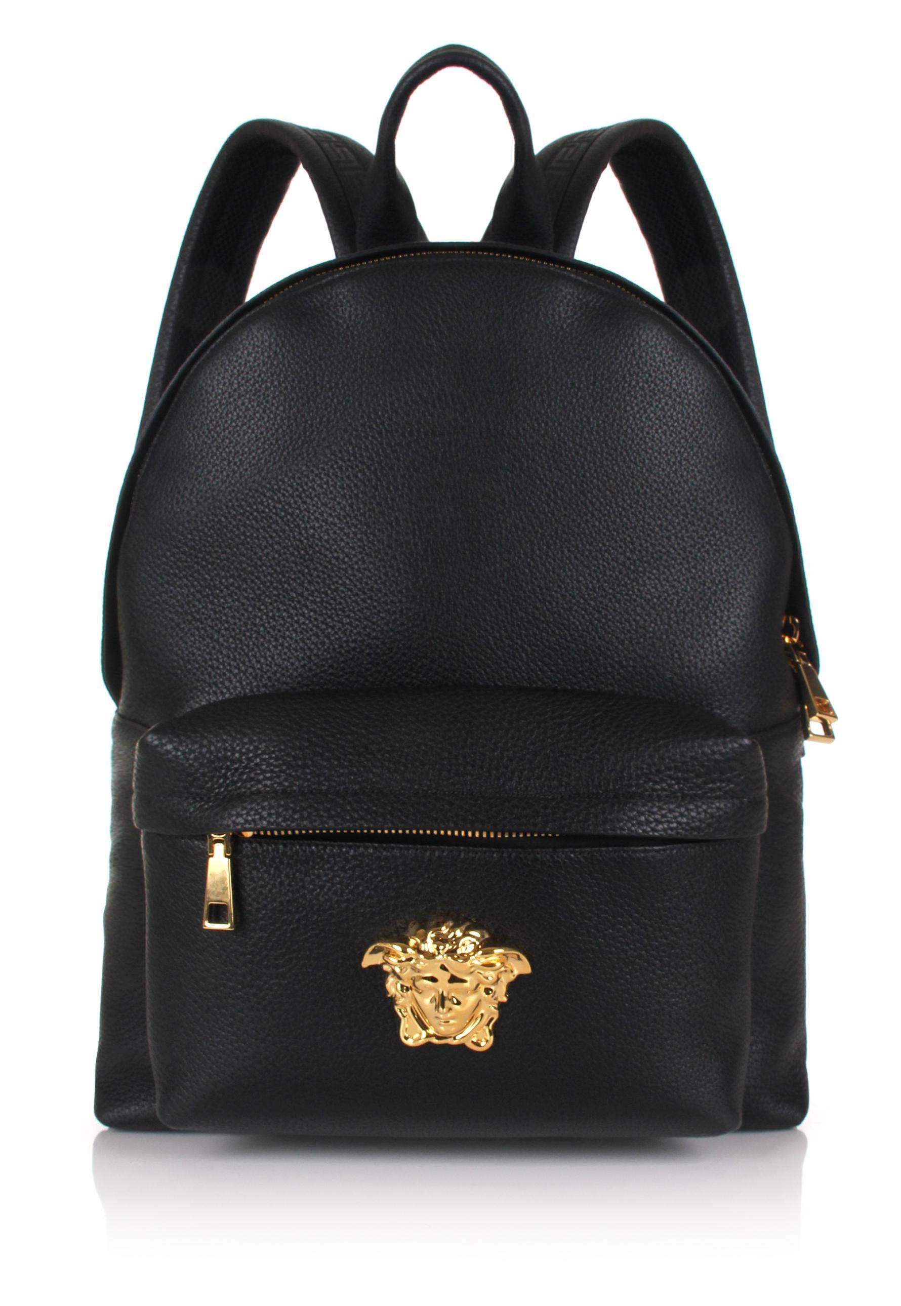 Versace Men S Medusa Leather Backpack Black Gold
