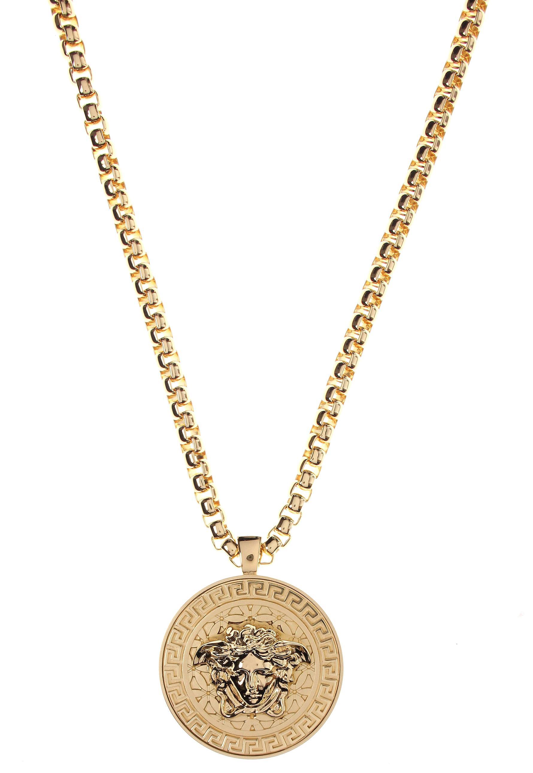 Versace Medusa Head Medallion Gold Necklace in Metallic