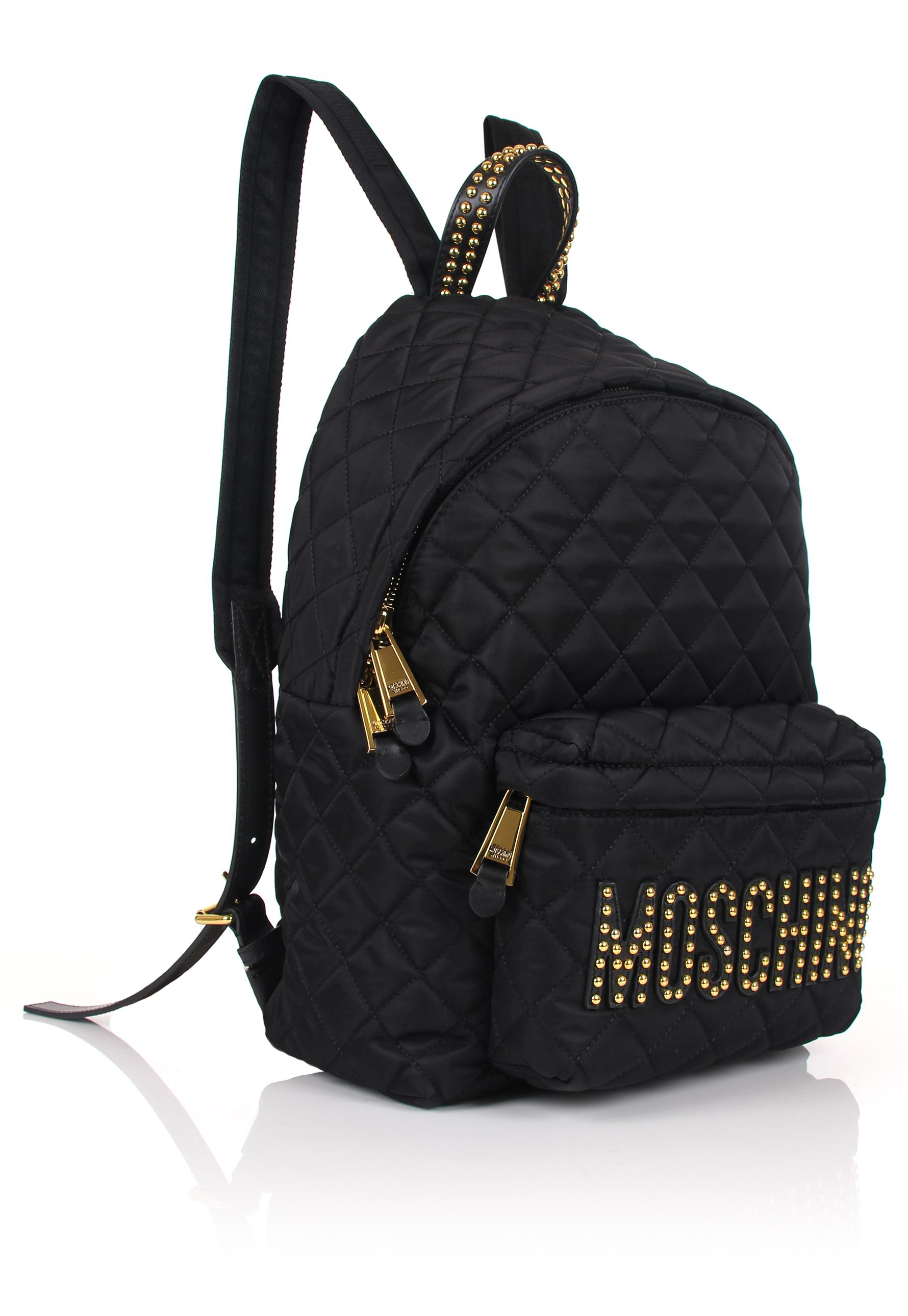 Moschino Quilted Studded Logo Backpack Black in Black - Lyst 6333780e5197f