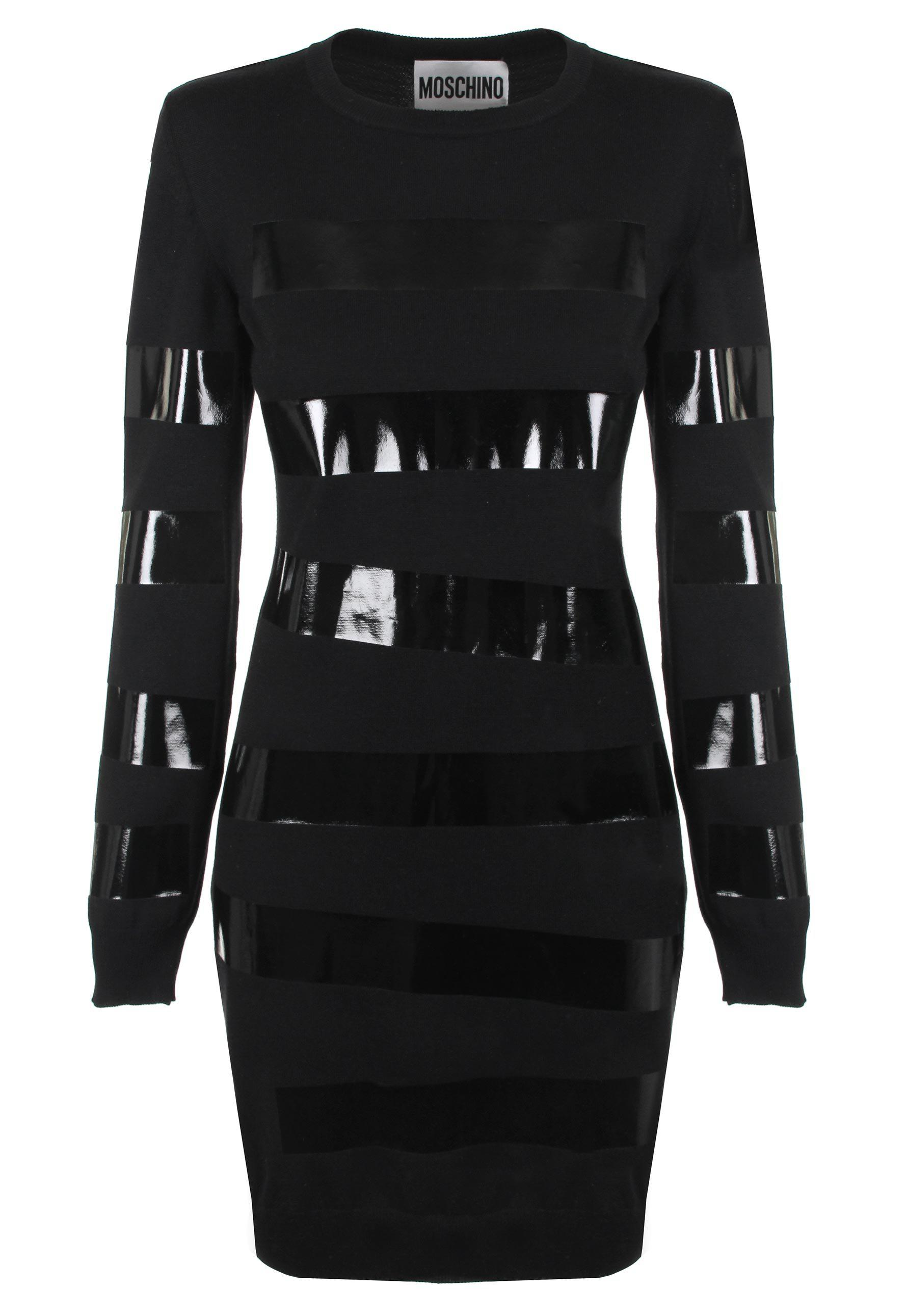 cd599020ff03 Lyst - Moschino Duct Tape Sweater Dress Black in Black