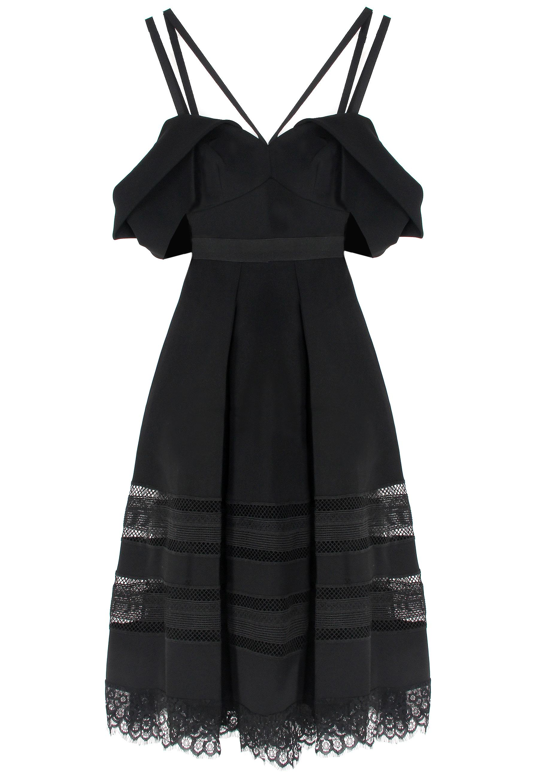 Belted Crepe Midi Dress - Black Co 2CSNkBJWa