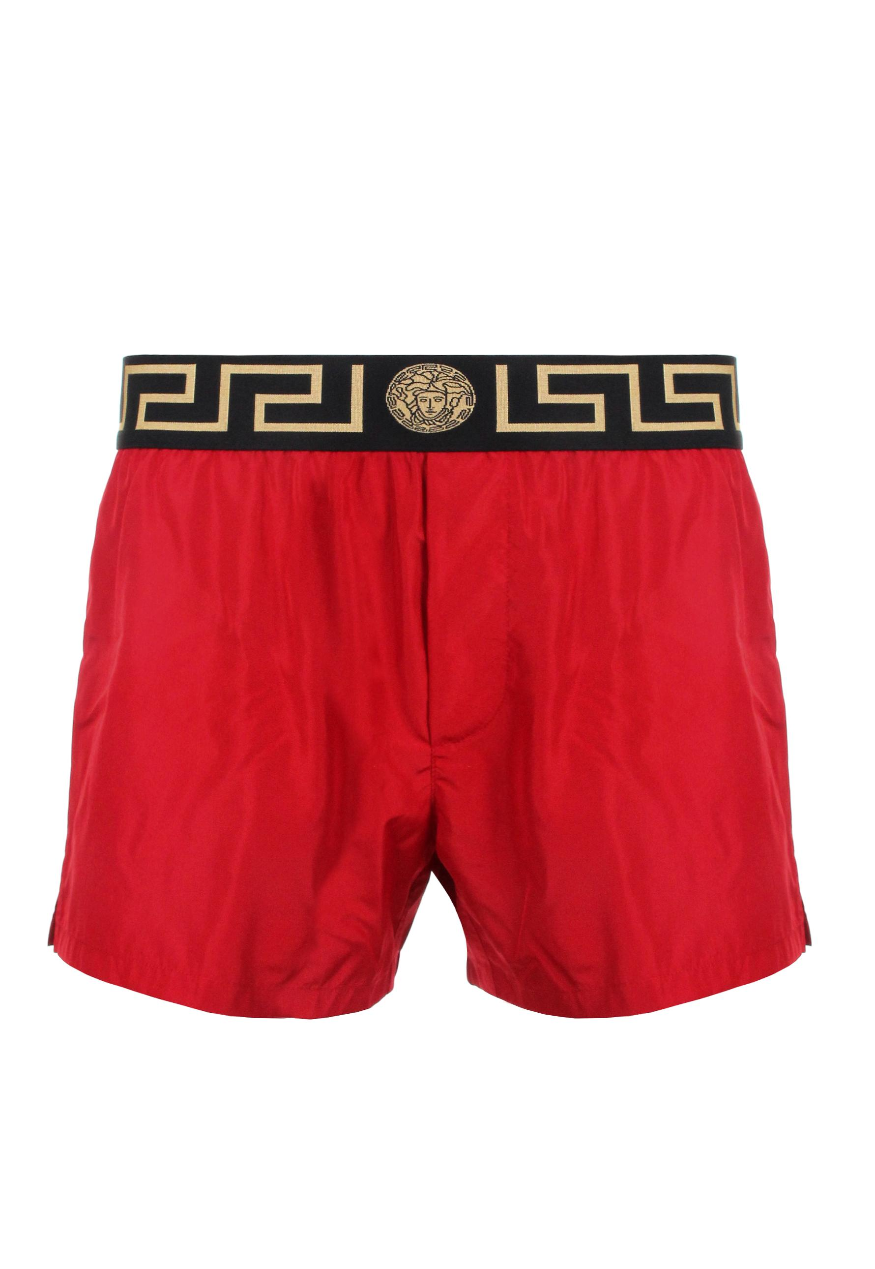 Versace Iconic Contrast Greca Swimming Shorts Red in Red for Men ...