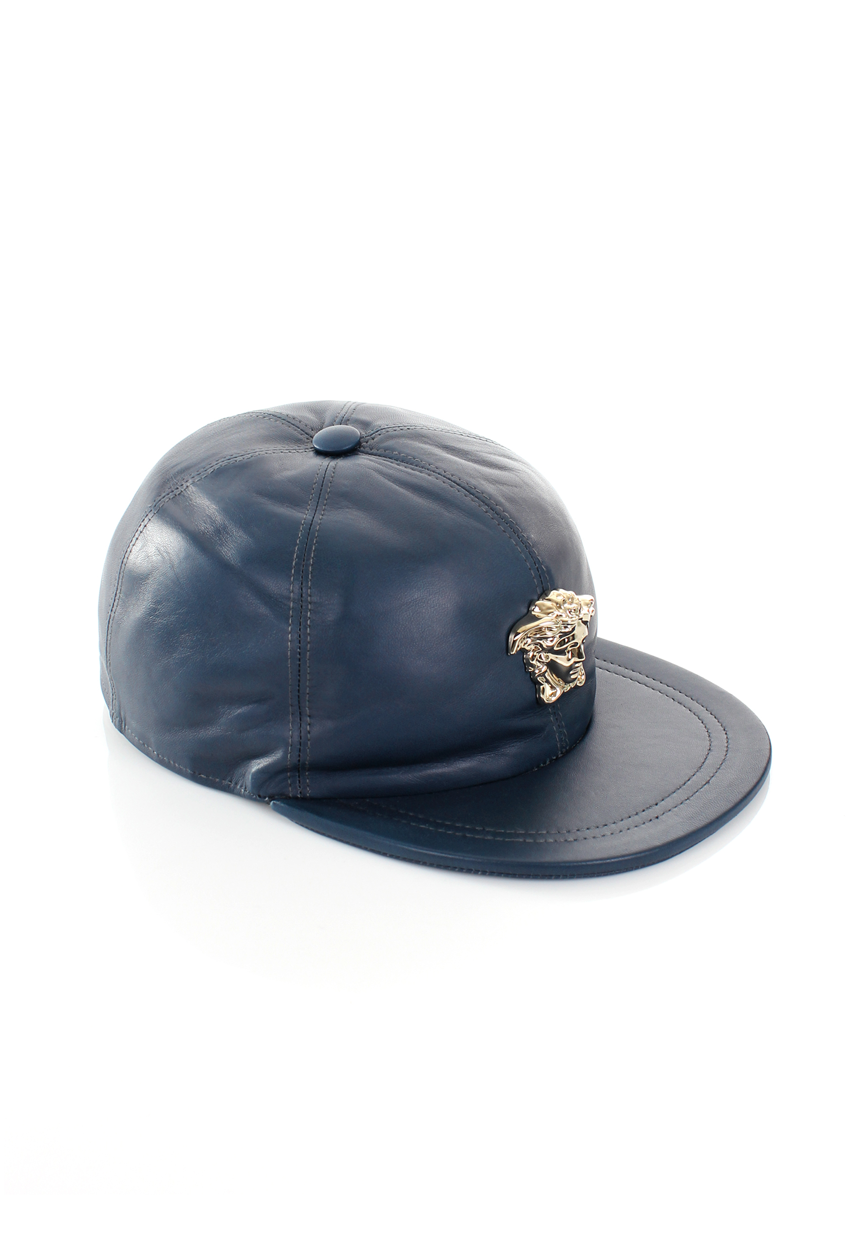 3834049b8cc Lyst - Versace Gold Medusa Leather Cap Blue in Blue for Men