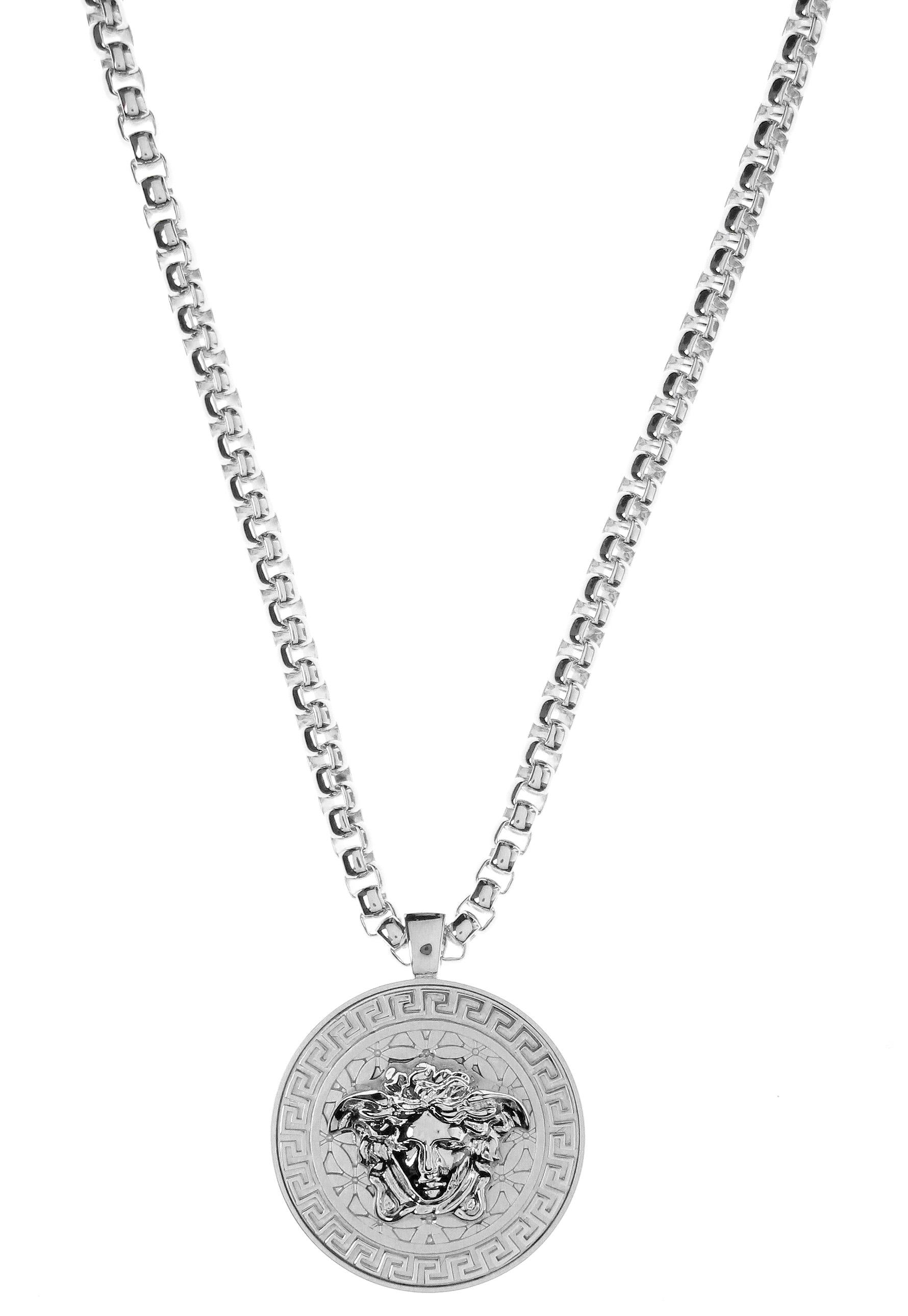 Versace medusa head medallion necklace rhodium in metallic lyst gallery aloadofball Images