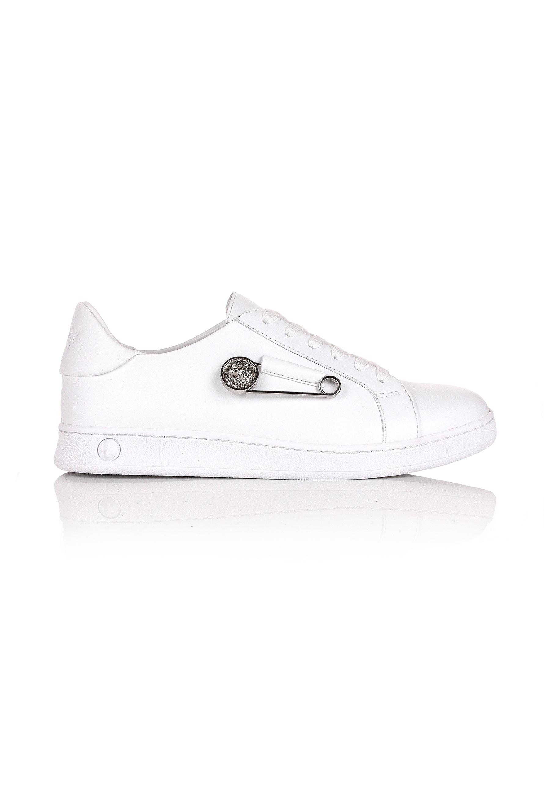 Versus LETTERING & SAFETY PIN LEATHER SNEAKERS Grq01Lq