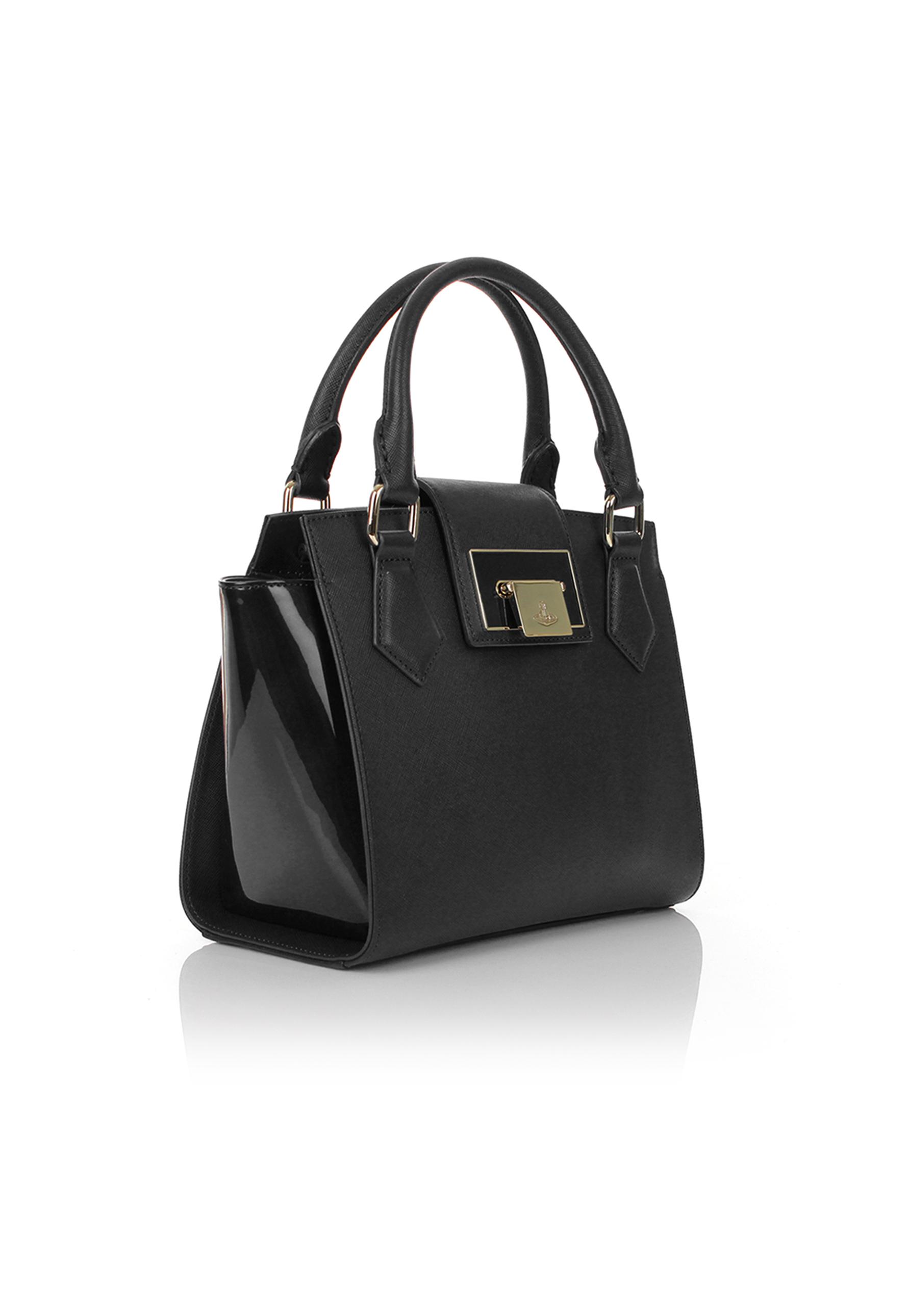 Vivienne westwood Opio Saffiano 131017 Small Handbag Black in ...