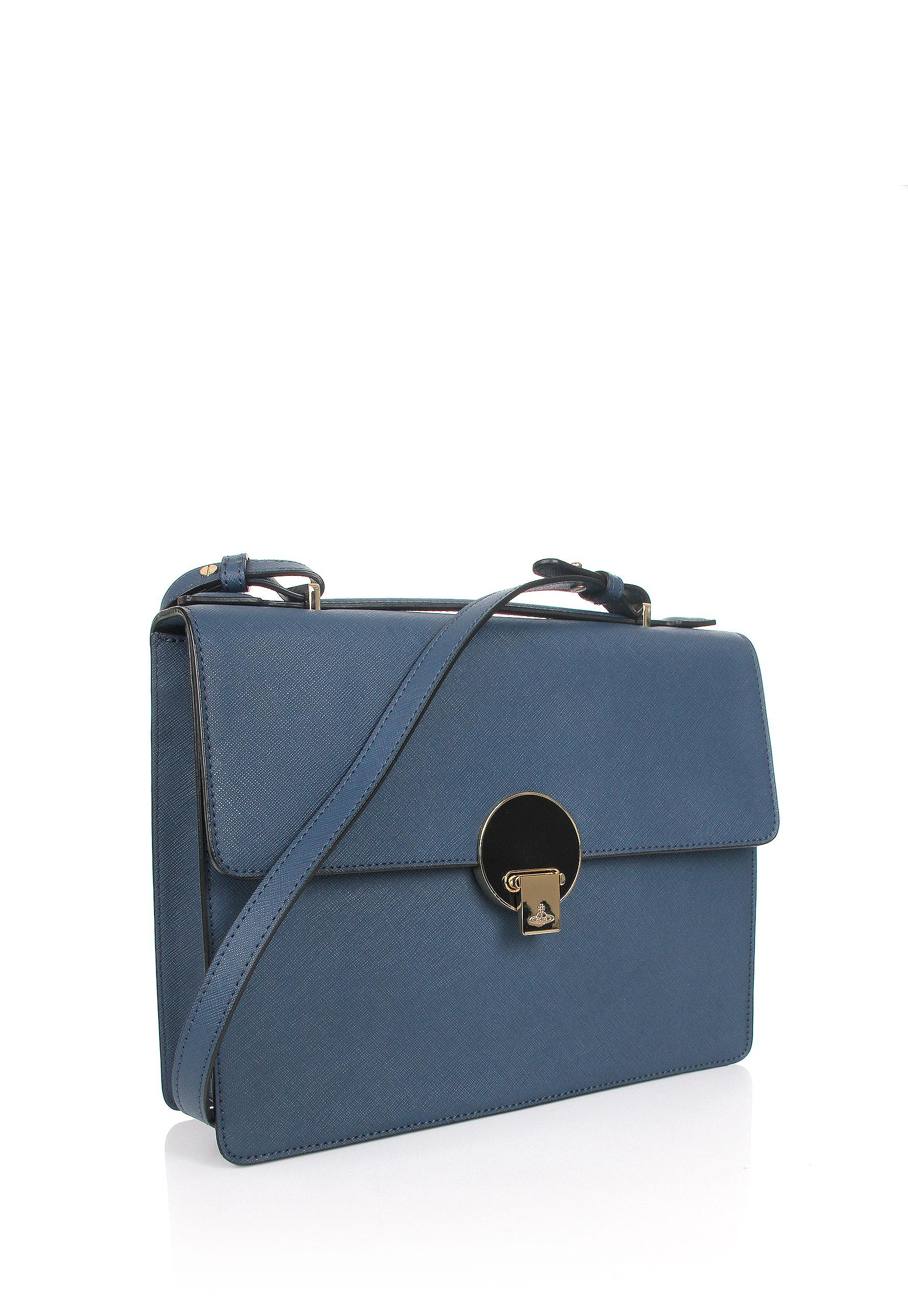 ad8c635c0a3 Vivienne Westwood Opio Saffiano 131130 Medium Shoulder Bag Blue in ...