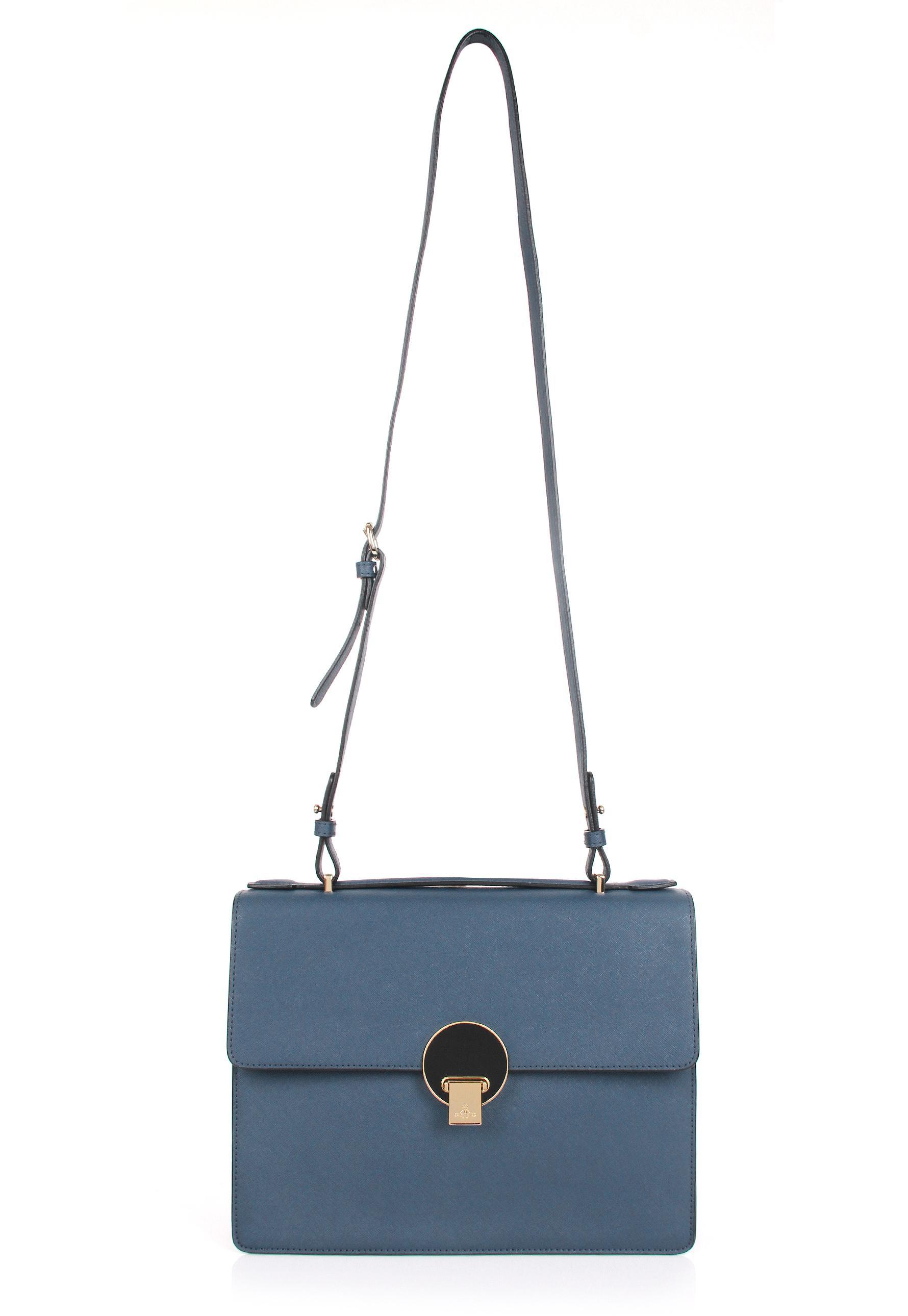 f8e3eff9181 Vivienne Westwood Opio Saffiano 131130 Medium Shoulder Bag Blue in ...