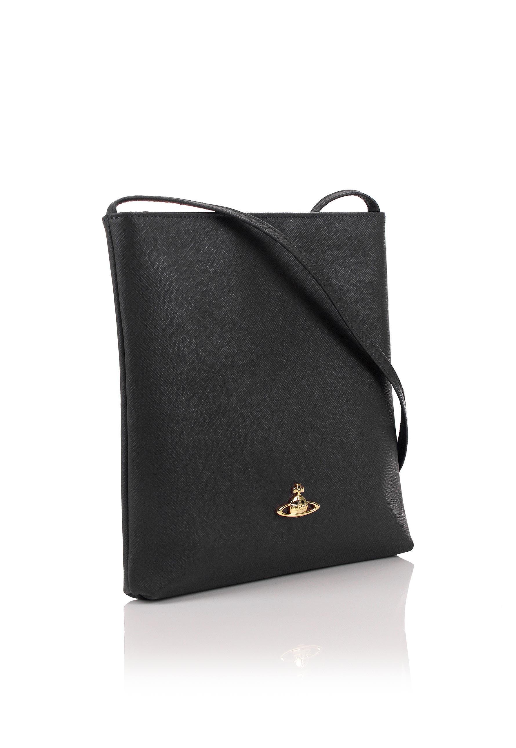 5e0d55b4c Vivienne Westwood Saffiano 6571 Small Crossbody Bag Black in Black ...
