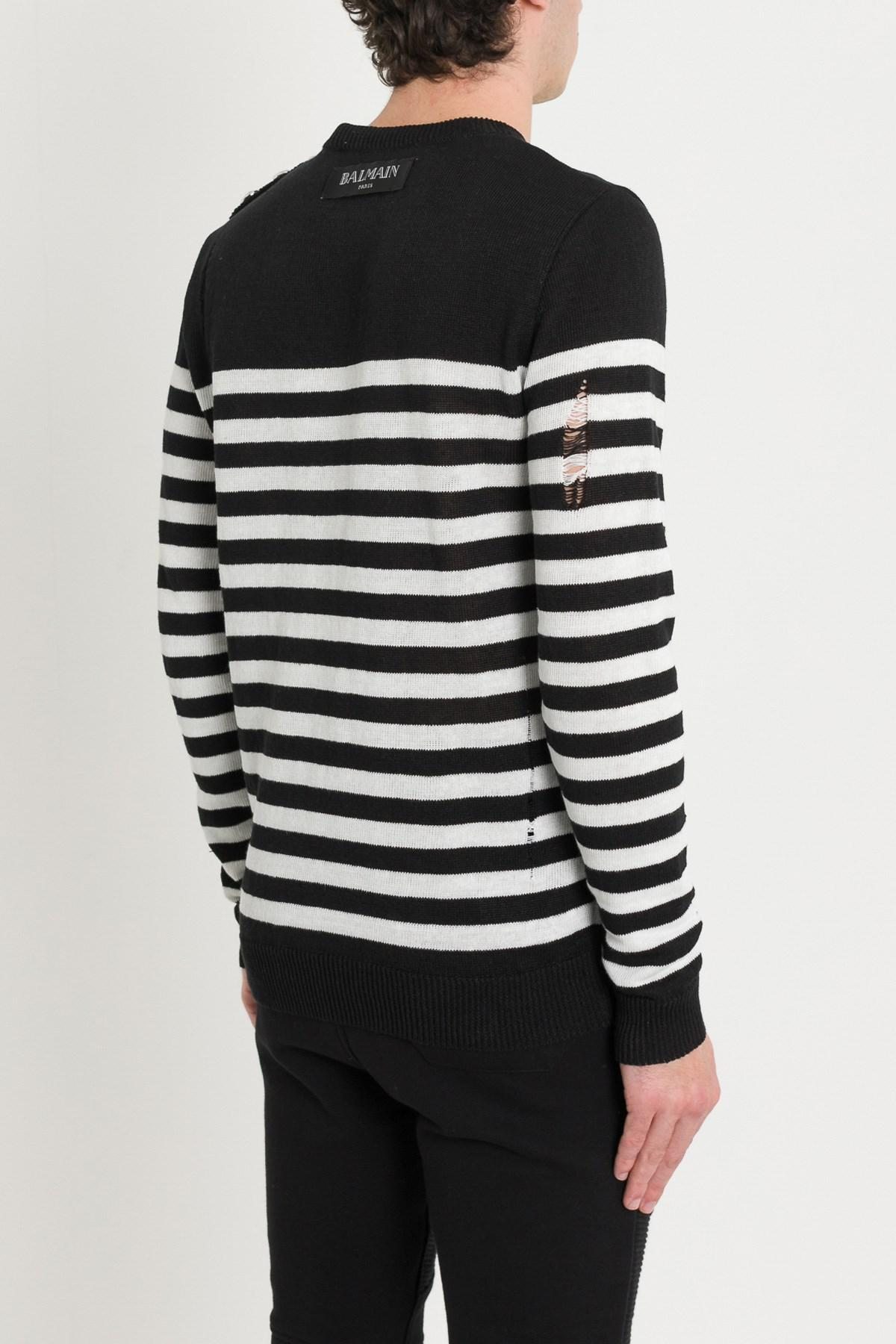 f3cddfef68 Balmain - Black Striped Knit Jumper With Patch for Men - Lyst. View  fullscreen