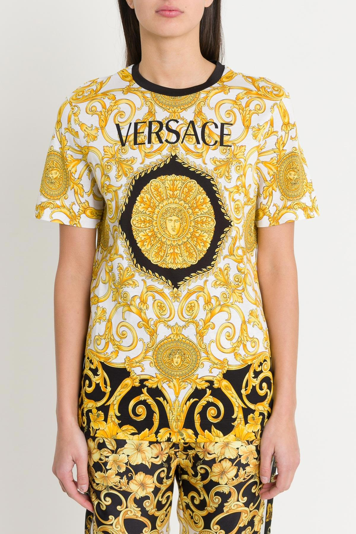 fcfc25f56f Versace - Metallic Gold Hibiscus Tee - Lyst. View fullscreen