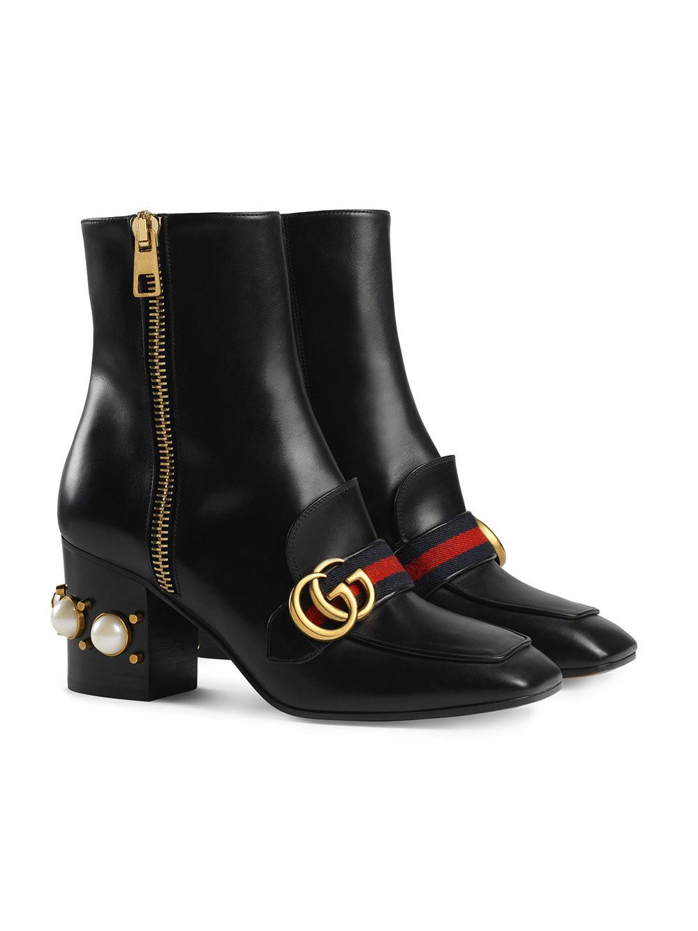 b992c935d5ba Gucci Marmont Embellished Leather Ankle Boots in Black - Save 5% - Lyst