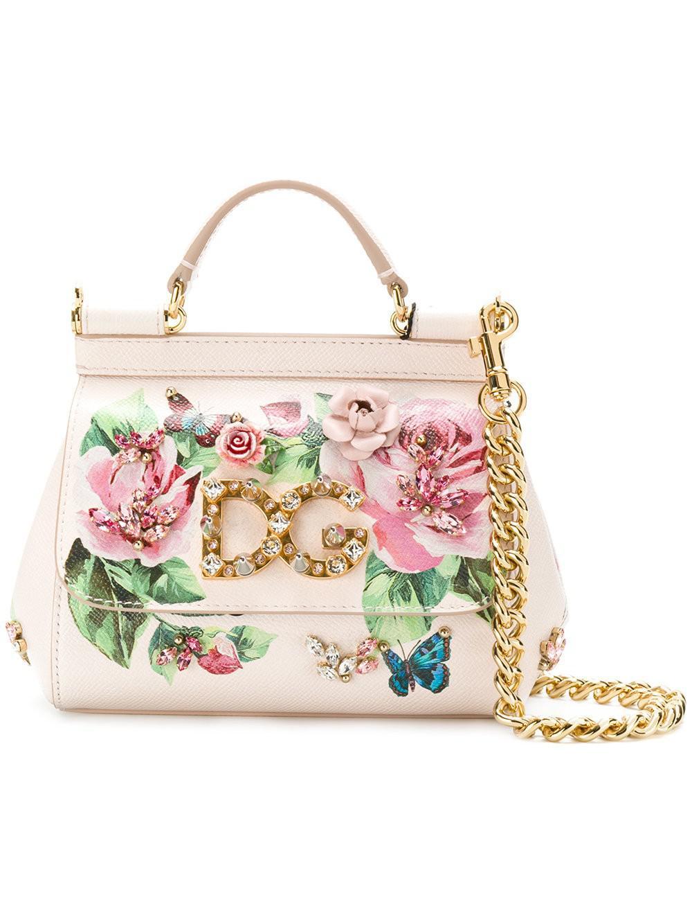 b04b4d75e3d1 Dolce   Gabbana Small Sicily Rose Print Bag - Lyst