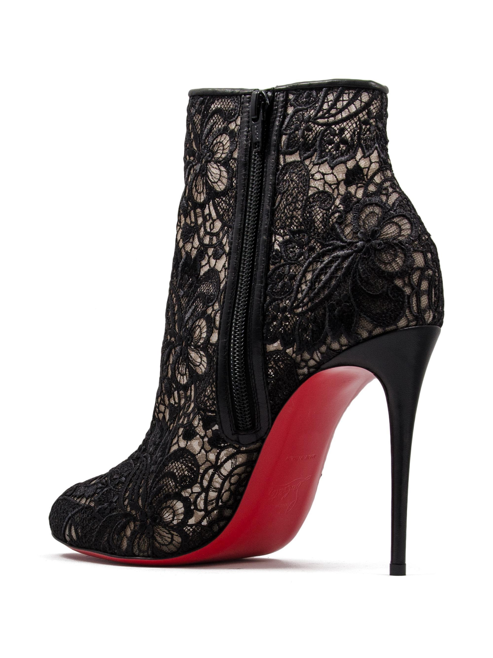 Miss Tennis 100 Guipure Lace Ankle Boots - Black Christian Louboutin w5CSK8A