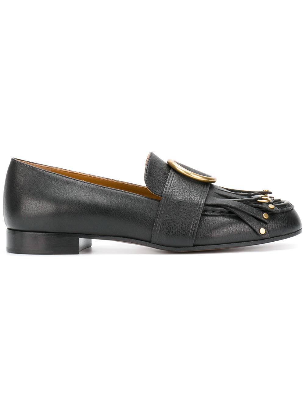 27362b96ffc Chloé - Black Olly Fringed Leather Loafers - Lyst. View fullscreen