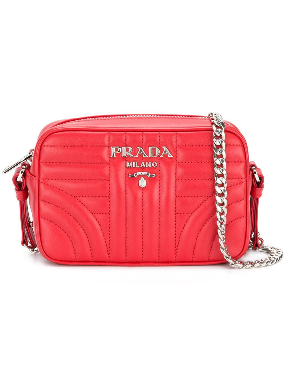 Cross Body Bags - Diagramme Crossbody Bag Leather Red - red - Cross Body Bags for ladies Prada UIXbPtxEI