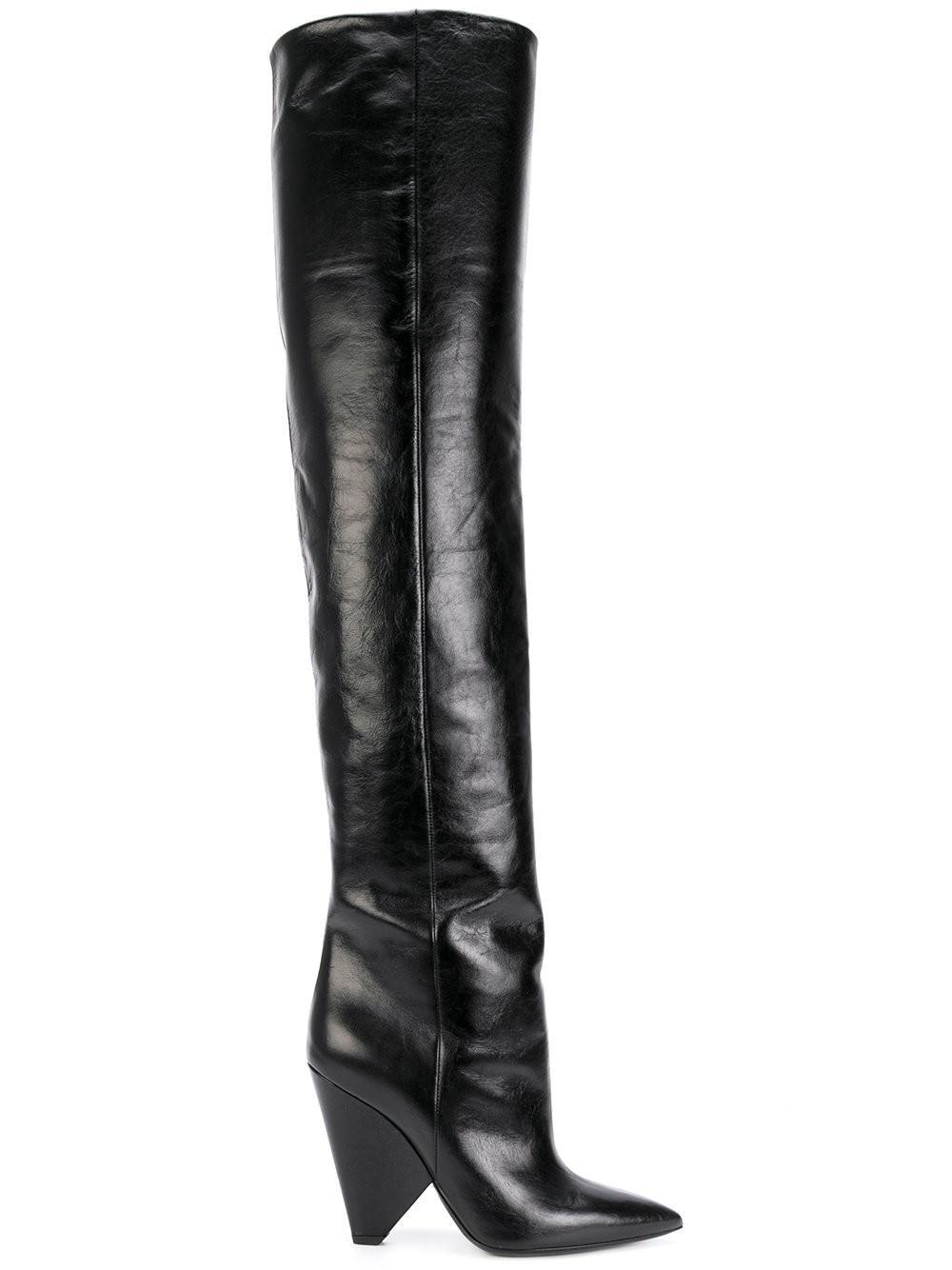 Niki Glossed-leather Knee Boots - Black Saint Laurent Websites For Sale W3pSPh4