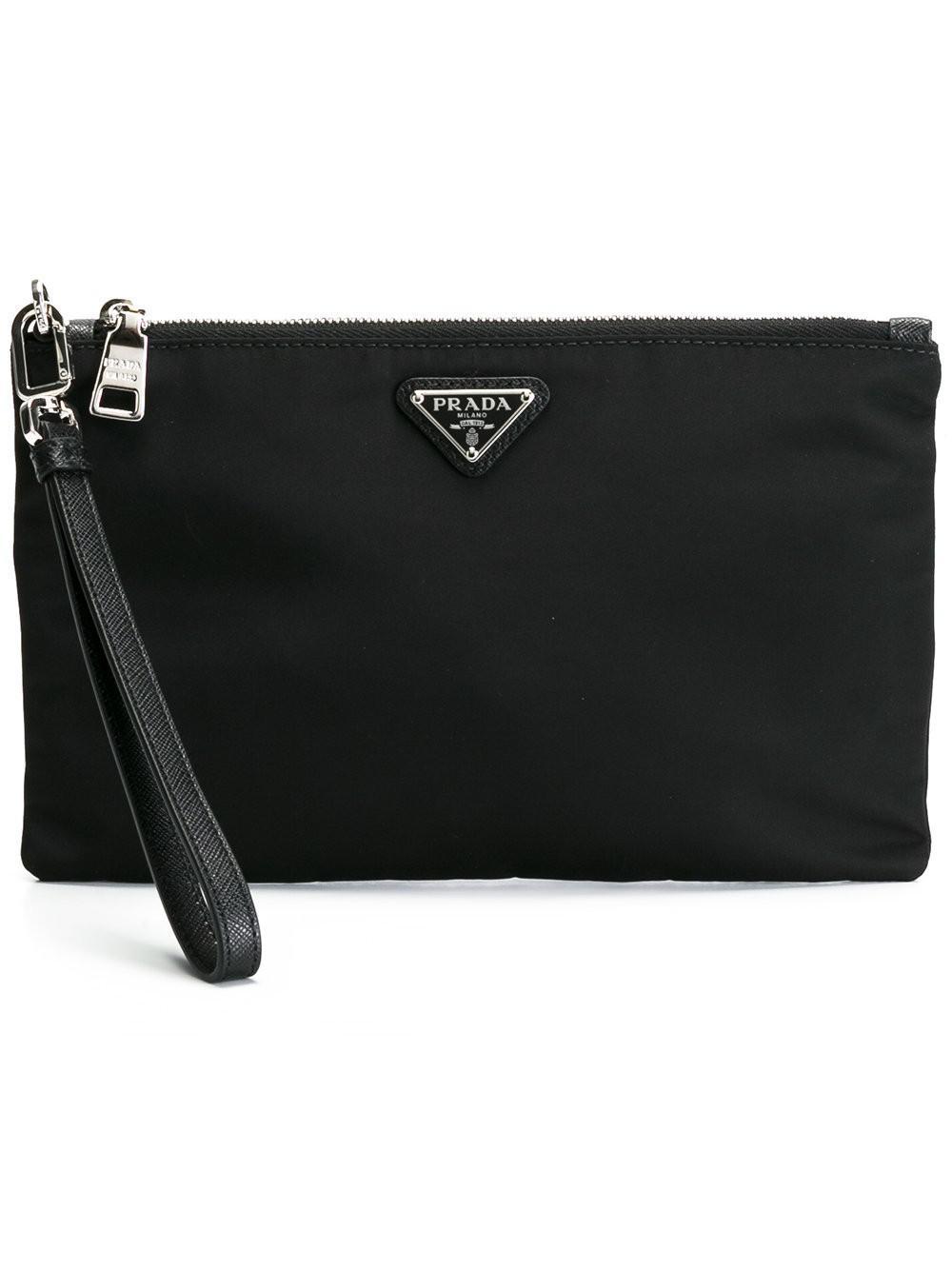 logo plaque zipped clutch - Black Prada YjIvDl